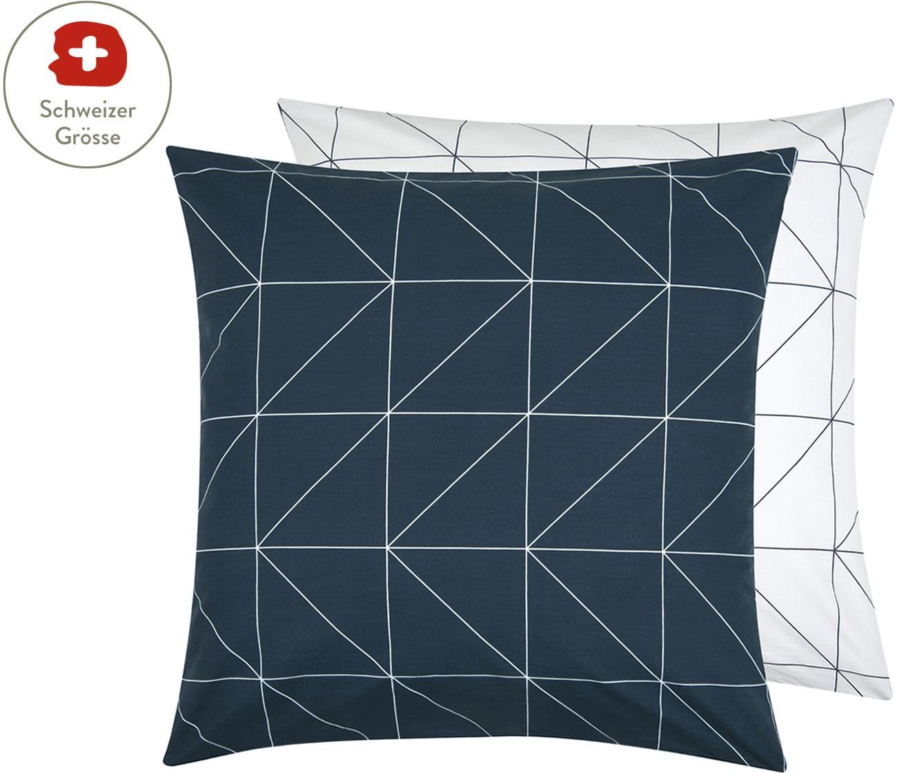 Baumwoll-Wendekissenbezug Marla mit grafischem Muster, Webart: Renforcé Fadendichte 144 , Navyblau, Weiss, 65 x 65 cm