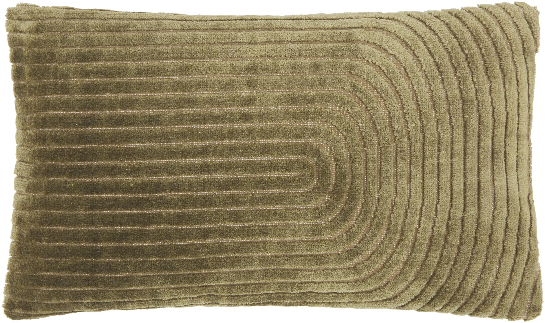 Samt-Kissenhülle Carraway, Vorderseite: 51% Polyester, 49% Viskos, Rückseite: 100% Baumwolle, Grün, 30 x 50 cm