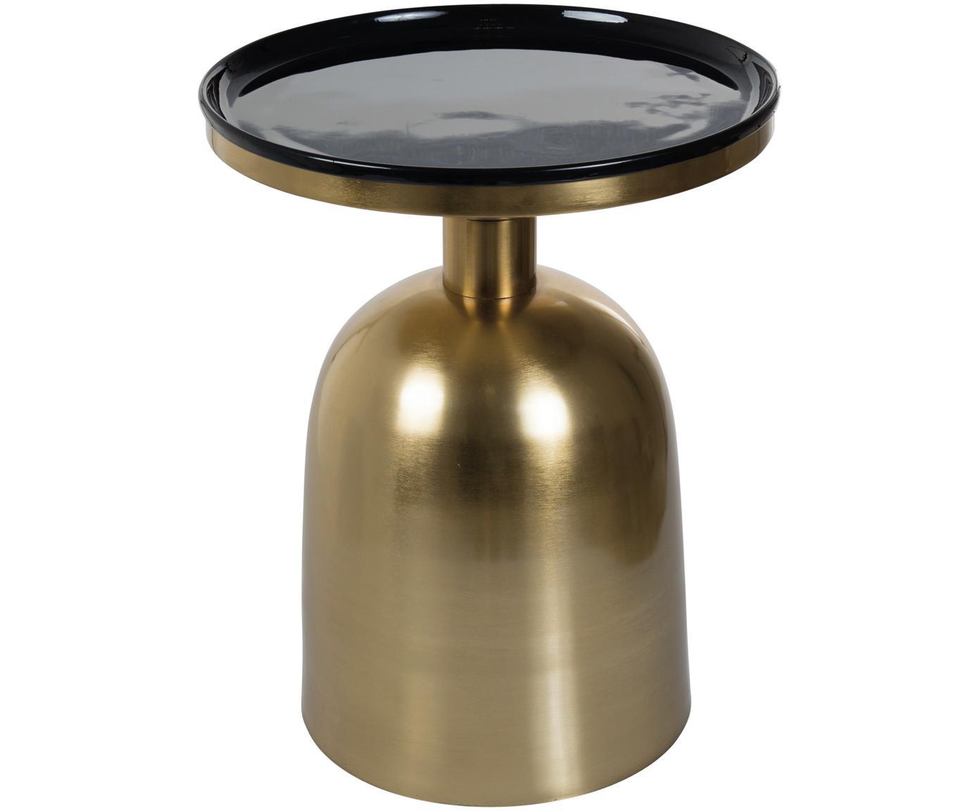 Stolik pomocniczy emaliowany Ikon, Blat: metal emaliowany, Stelaż: metal lakierowany, Odcienie złotego, czarny, Ø 38 x W 46 cm
