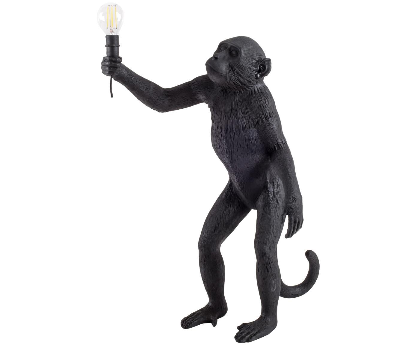 Lámpara de mesa LED para exterior Monkey, Resina, Negro, An 46 x Al 54 cm