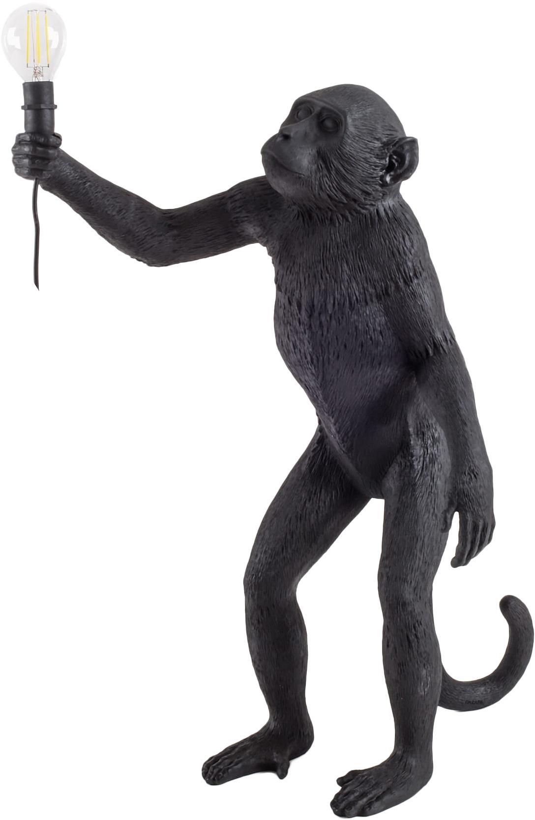 Außen-Tischleuchte Monkey, Kunstharz, Schwarz, 46 x 54 cm