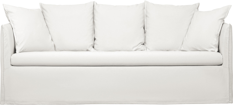 Hussen-Sofa Mila (3-Sitzer), Bezug: Baumwolle 26.000 Scheuert, Gestell: Massives Fichtenholz, Cremeweiss, B 195 x T 82 cm