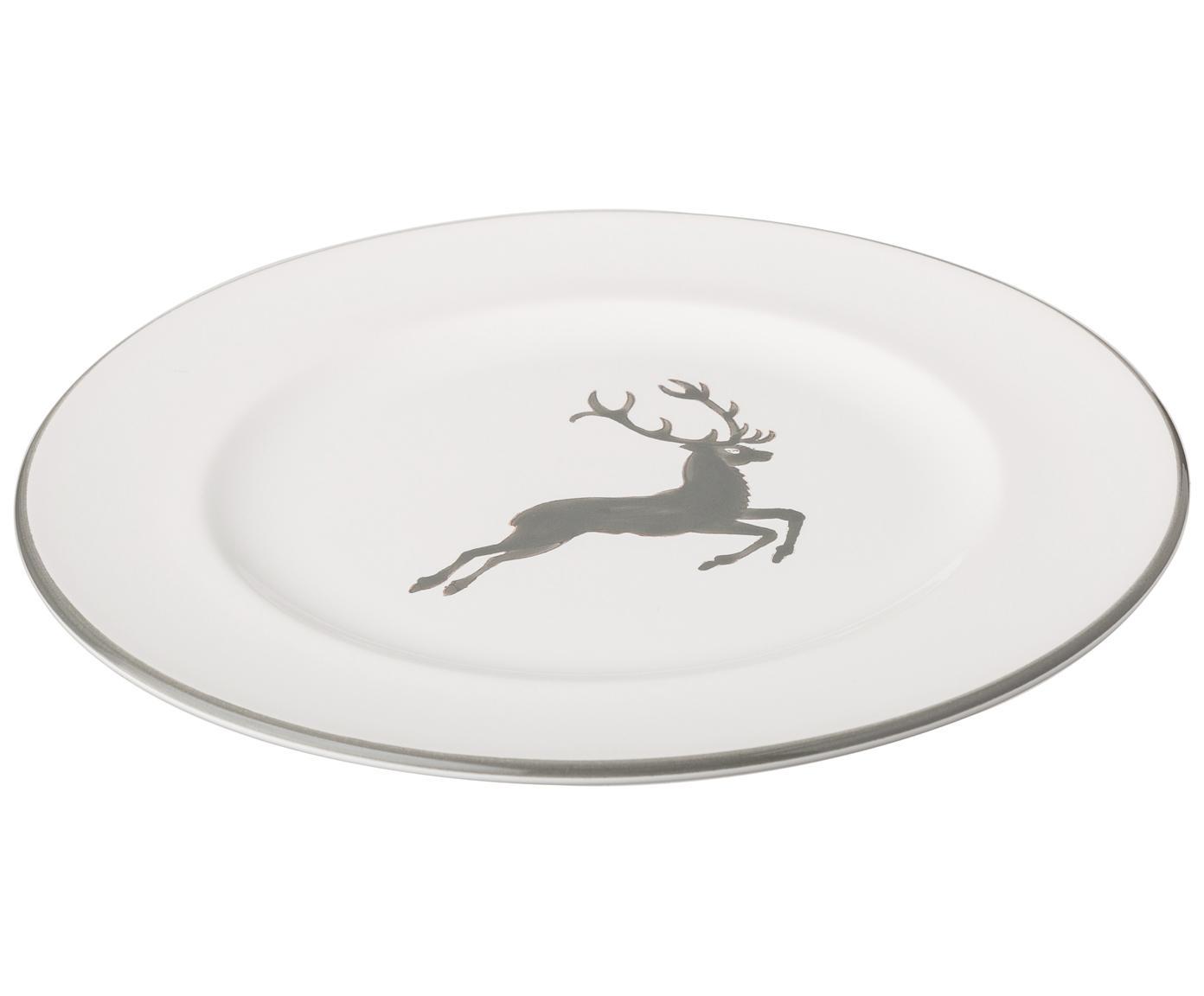 Piatto da dessert dipinto a mano Gourmet Grauer Hirsch, Ceramica, Grigio, bianco, Ø 22 cm