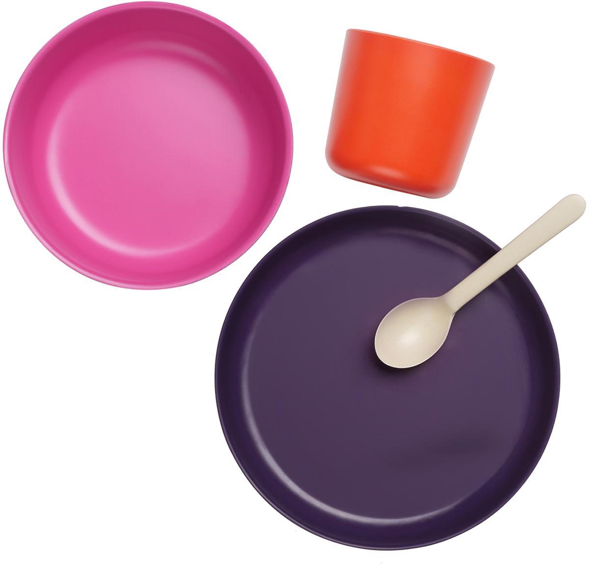 Ontbijtset Ume, 4-delig, Bamboehoutvezels, melamine, voedselveilig BPA-, PVC- en ftalatenvrij, Violet, roze, rood, crèmewit, Set met verschillende formaten