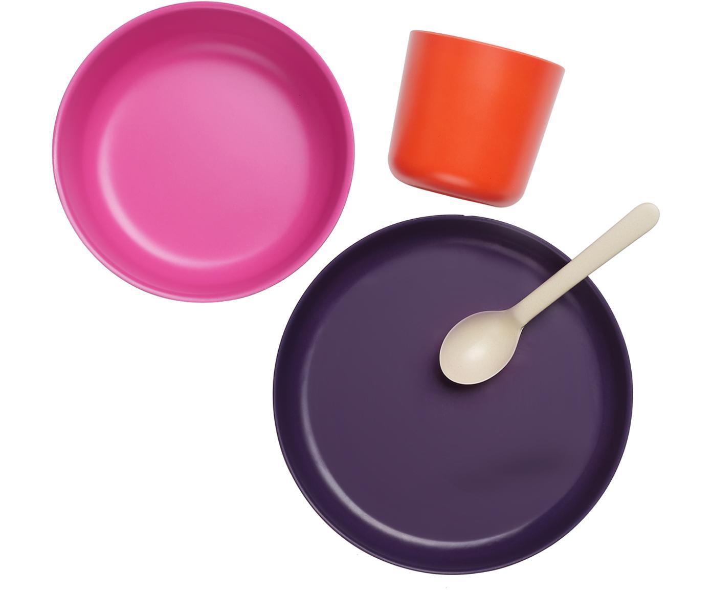 Ontbijtset Ume, 4-delig, Bamboehoutvezels, melamine, voedselveilig BPA-, PVC- en ftalatenvrij, Violet, roze, rood, crèmewit, Verschillende formaten