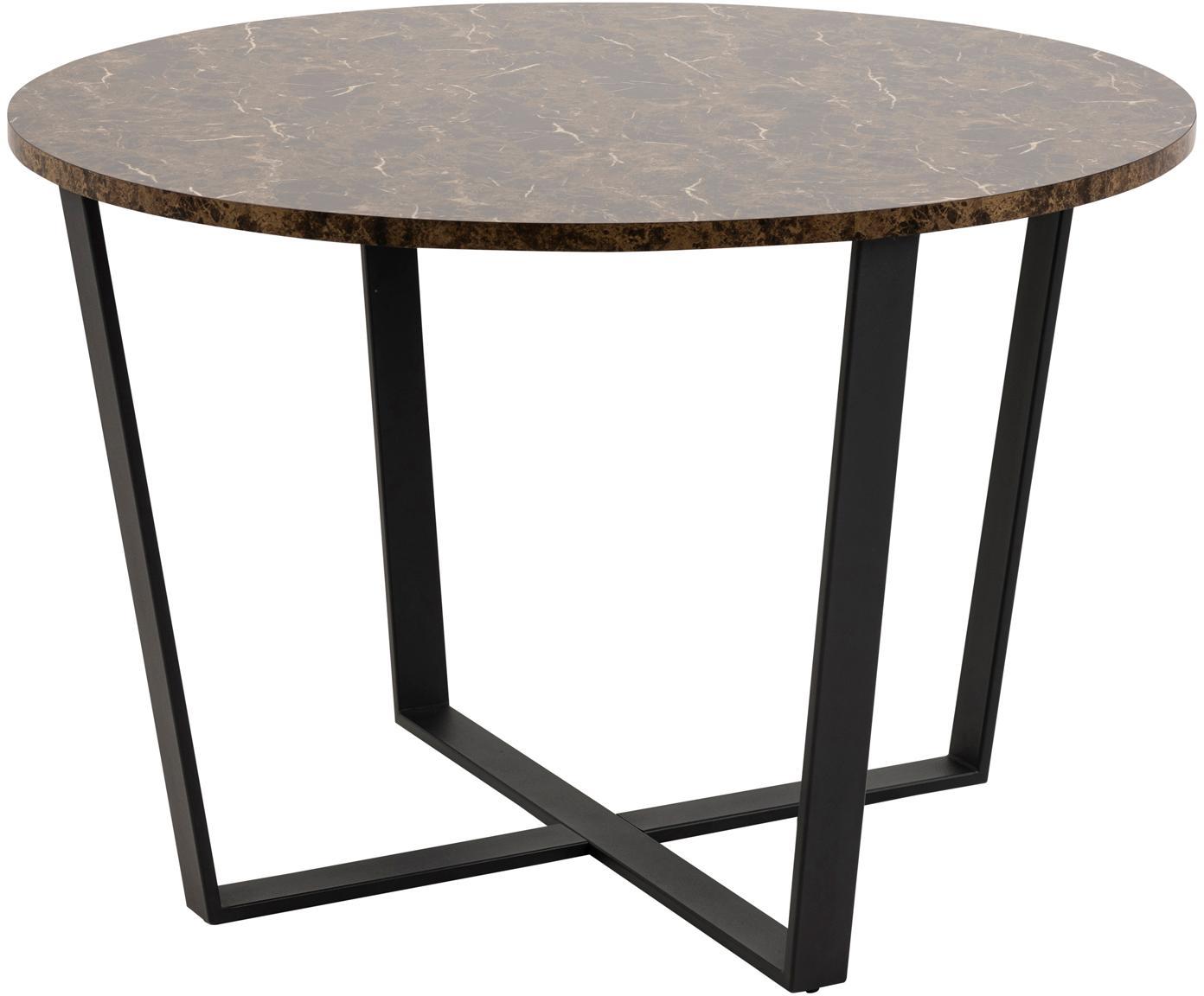 Tavolo da pranzo con piano in marmo Amble, Piano d'appoggio: pannello di fibra a media, Gambe: metallo verniciato a polv, Marrone marmorizzato, nero, Ø 110 x Alt. 75 cm