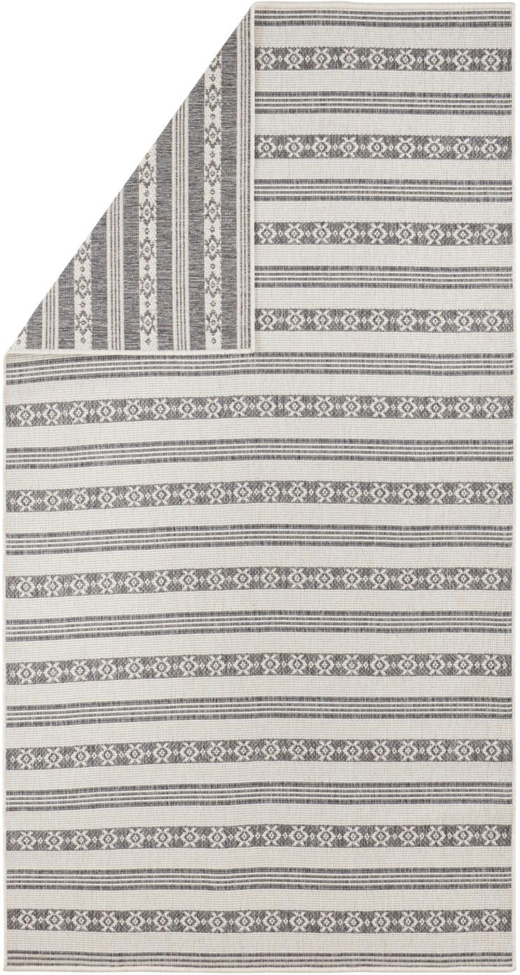 In- & Outdoor-Wendeteppich Fiji in Grau/Creme, 100% Polypropylen, Grau, Cremefarben, B 80 x L 150 cm (Größe XS)