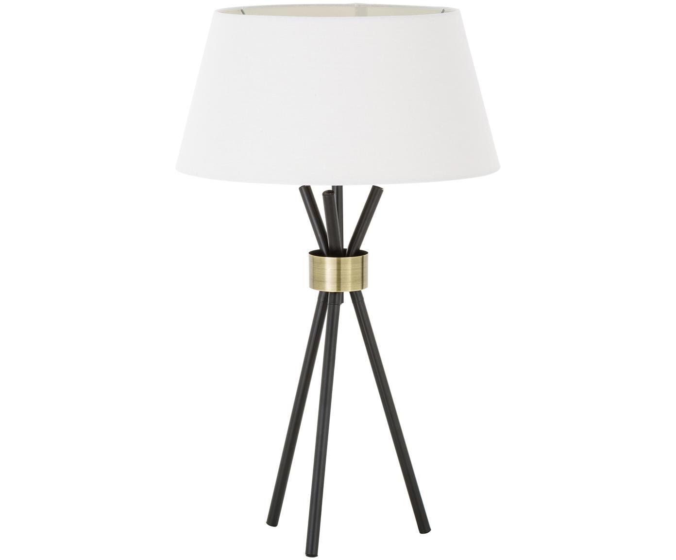 Große Tischlampe Tribeca, Lampenschirm: Leinen, Lampenfuß: Metall, lackiert, Dekor: Messing, Weiß, Schwarz, Ø 40 x H 67 cm