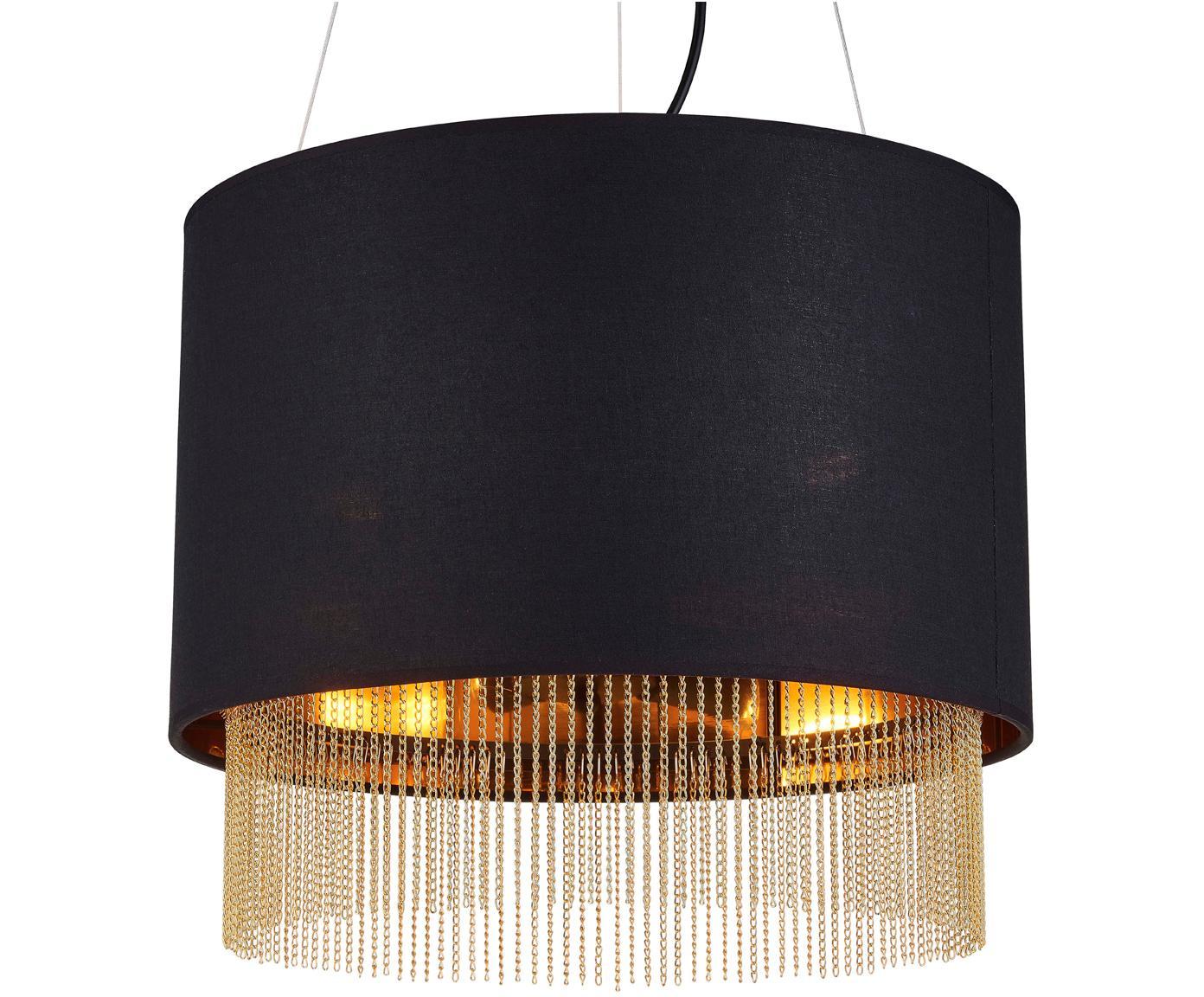 Pendelleuchte Fringe mit Ketten, Lampenschirm: Textil, Schwarz, Goldfarben, Ø 40 x H 34 cm