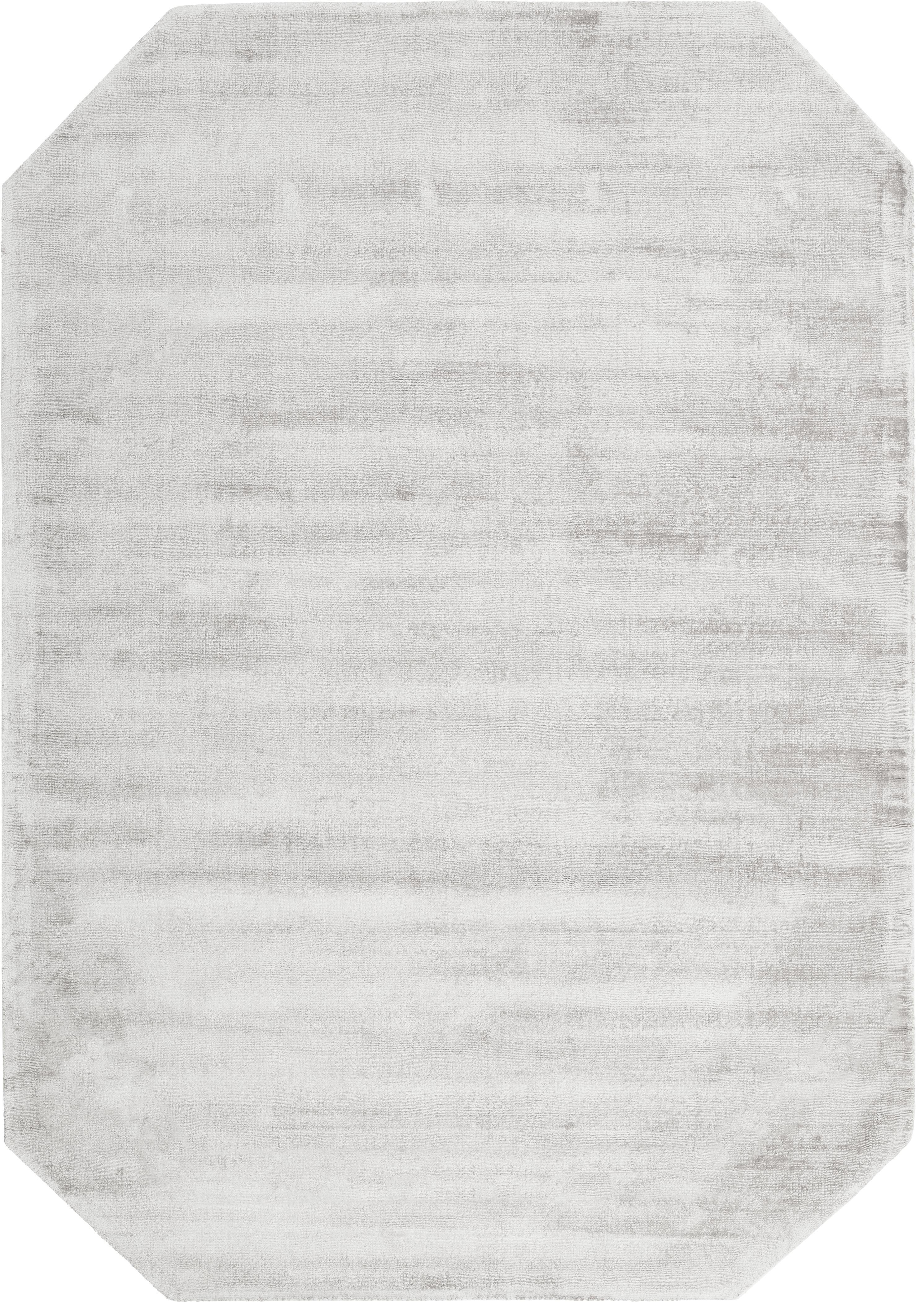 Handgewebter Viskoseteppich Jane Diamond in Hellgrau-Beige, Flor: 100% Viskose, Hellgrau-Beige, B 160 x L 230 cm (Grösse M)