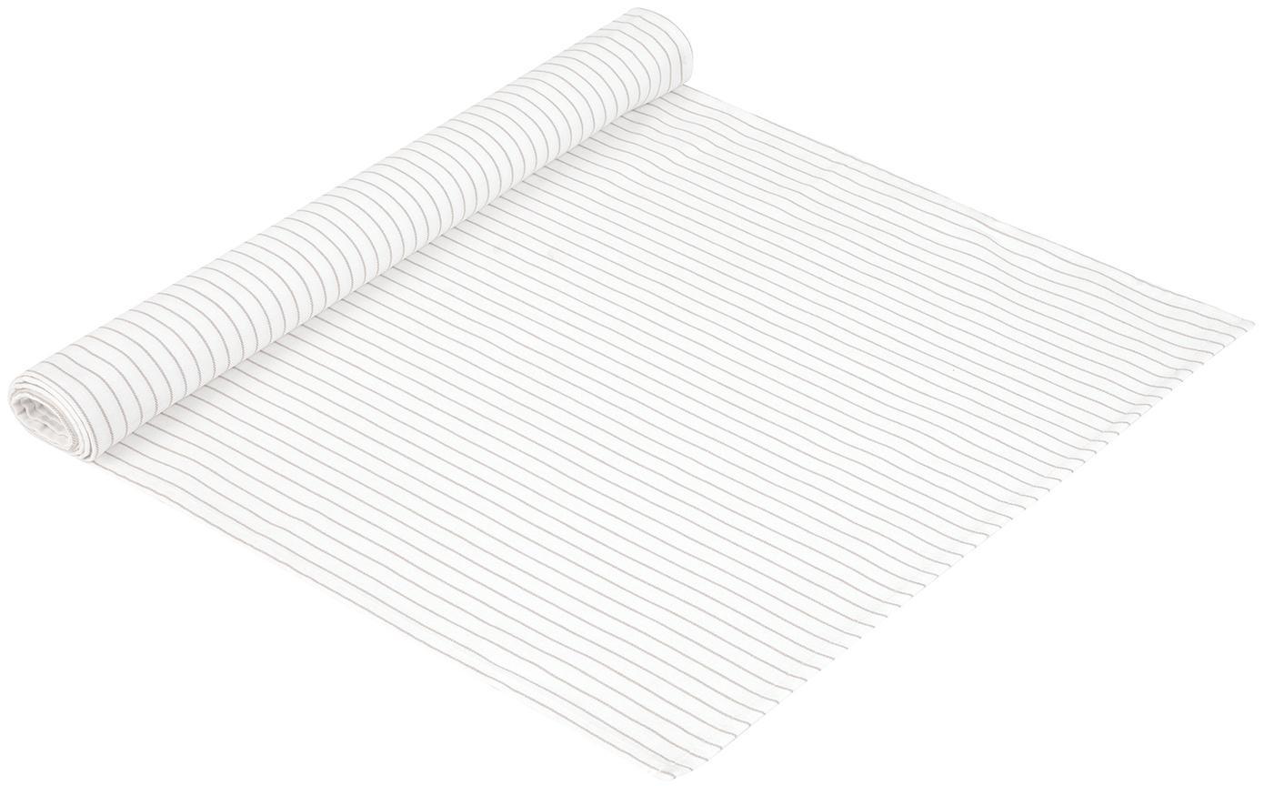 Camino de mesa Nicole, Algodón, Blanco, beige, An 50 x L 150 cm