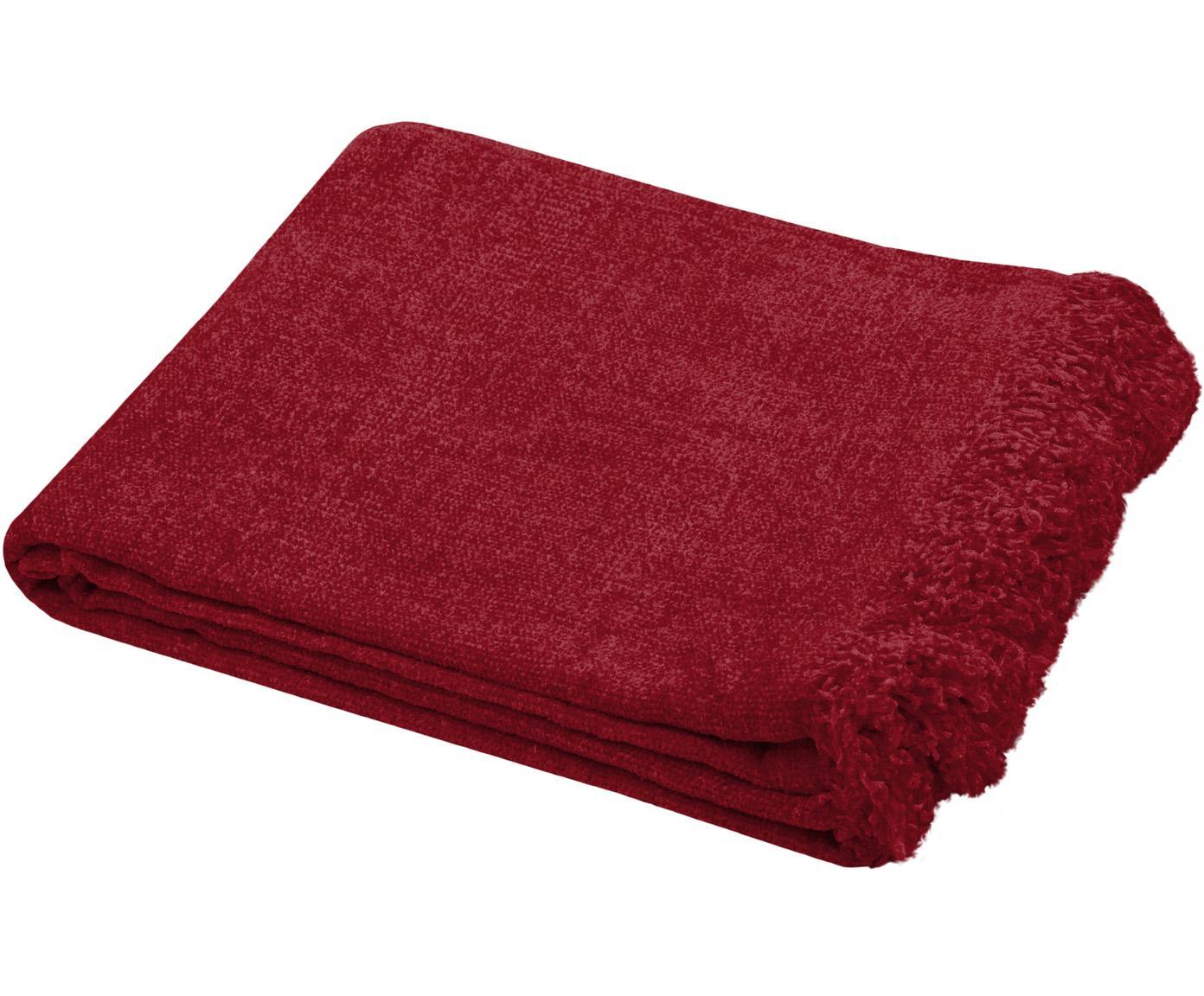 Manta de chenilla con flecos Chila, 100%poliéster, Rojo, An 125 x L 150 cm