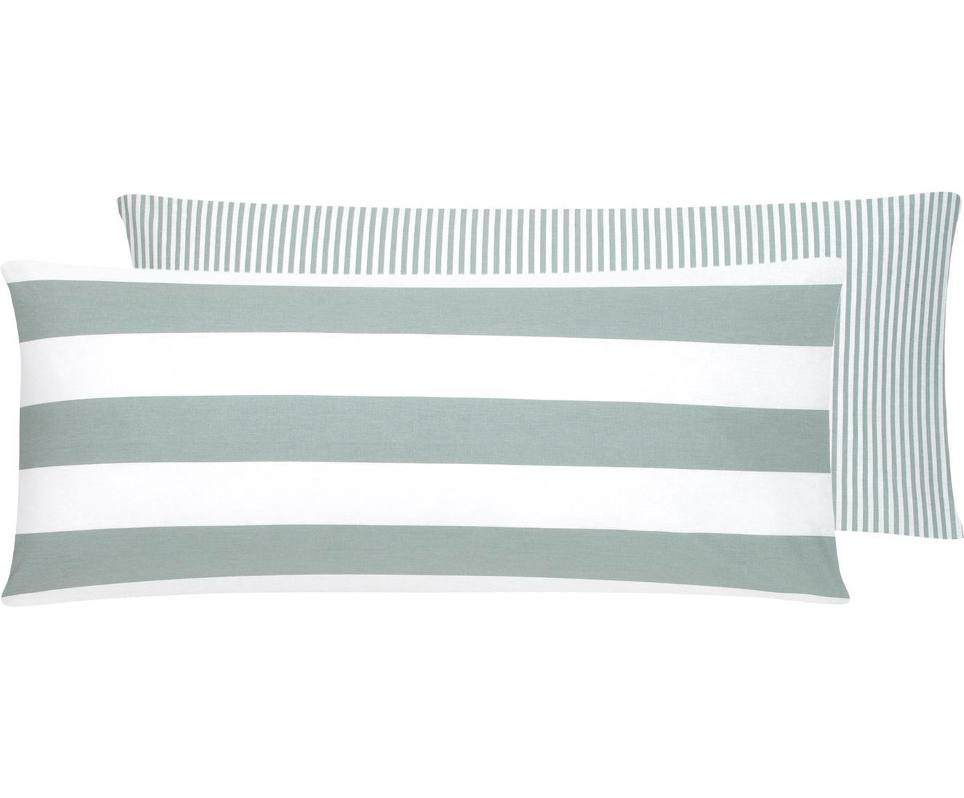 Funda de almohada de tejido renforcé Lorena, caras distintas, Verde salvia, blanco, An 45 x L 110 cm