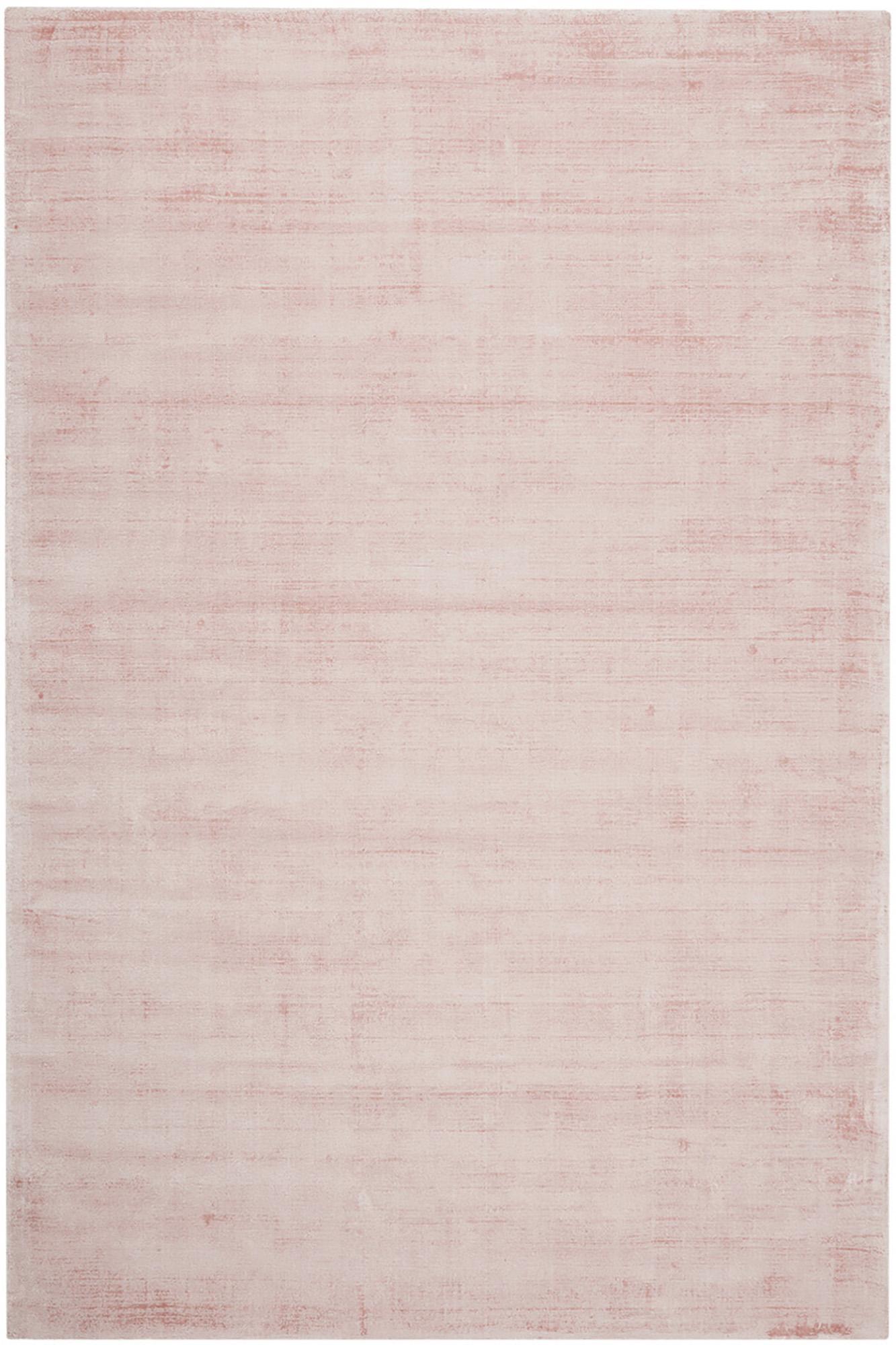 Handgeweven viscose vloerkleed Jane in roze, Bovenzijde: 100% viscose, Onderzijde: 100% katoen, Roze, B 200 x L 300 cm (maat L)