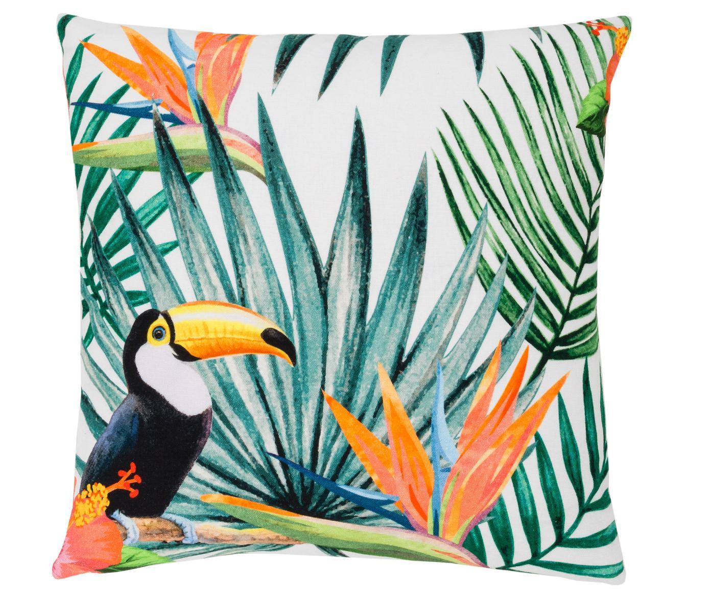 Kissenhülle Polly mit tropischem Print in Bunt, 100% Baumwolle, Mehrfarbig, Weiß, 50 x 50 cm