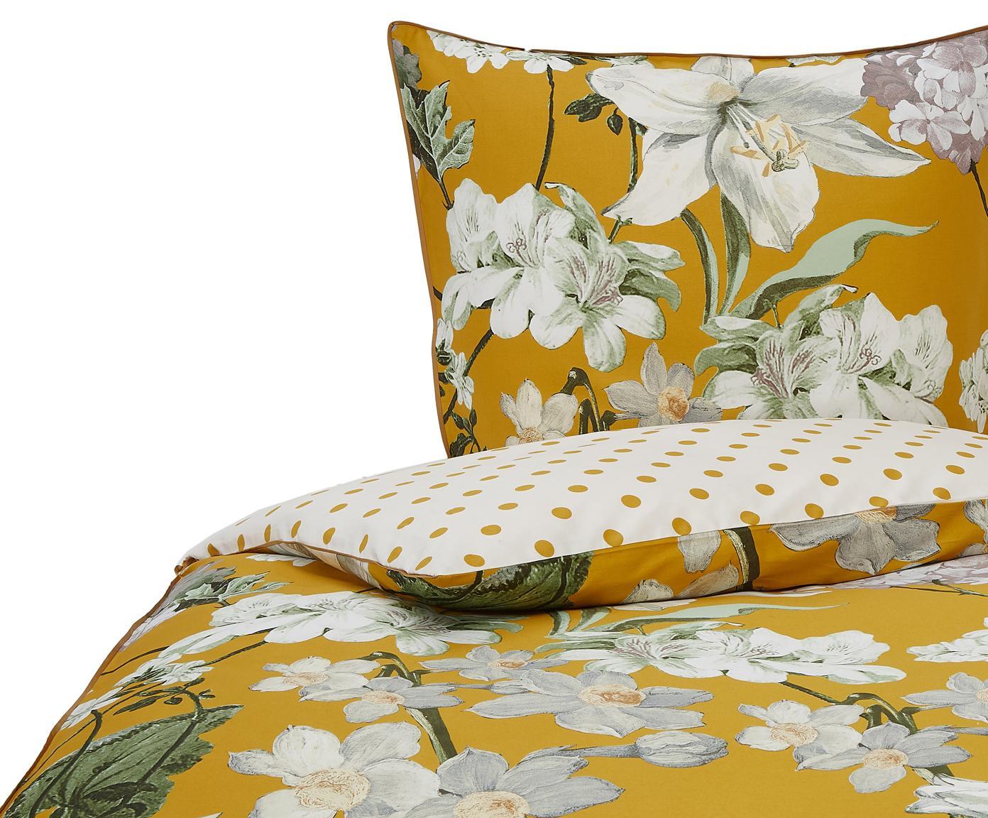 Baumwollsatin-Wendebettwäsche Rosalee mit Blumen-Muster, Webart: Satin Fadendichte 215 TC,, Senfgelb, Mehrfarbig, 135 x 200 cm + 1 Kissen 80 x 80 cm