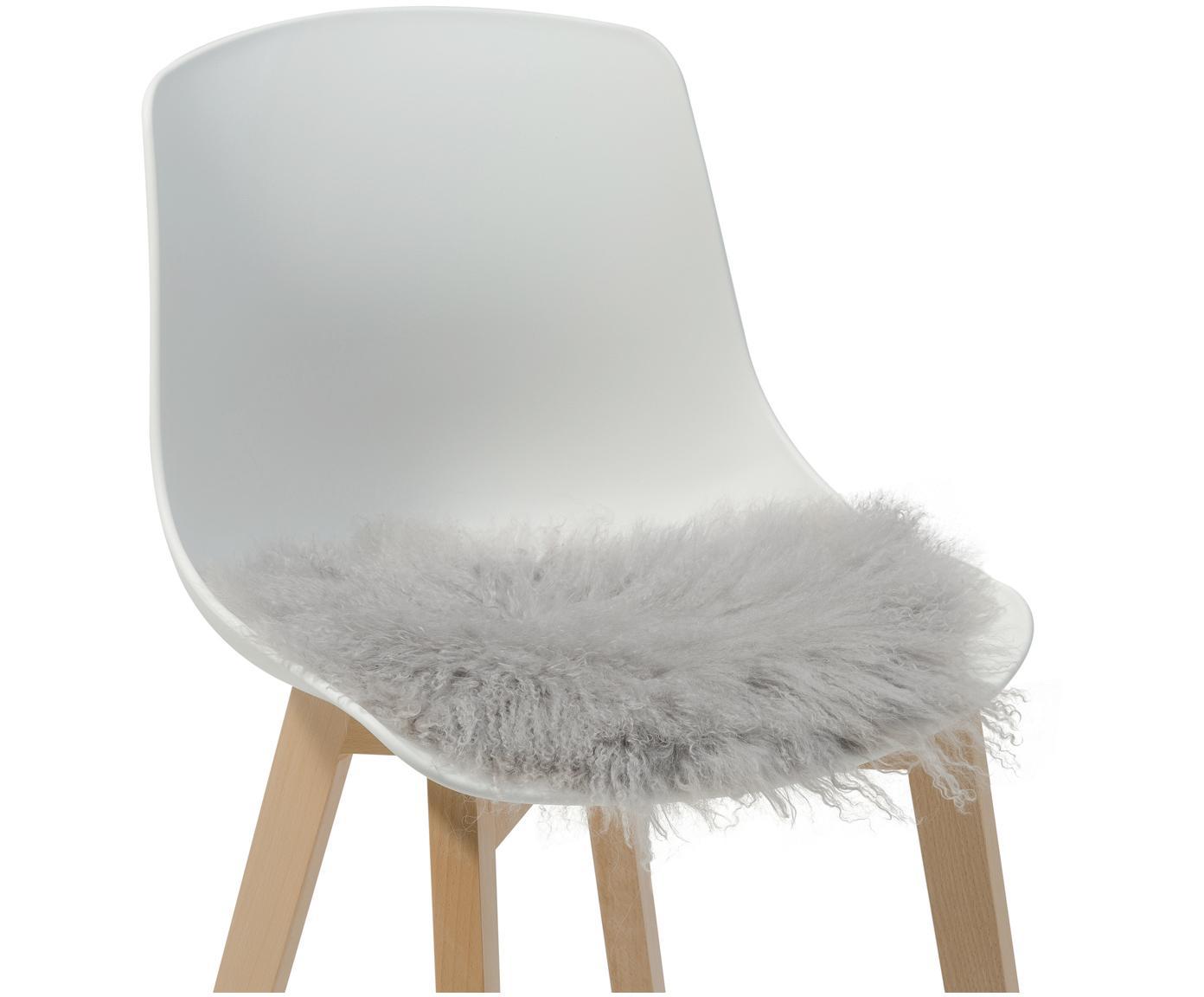 Runde Langhaar-Lammfell Sitzauflage Ella, gelockt, Vorderseite: 100% mongolisches Lammfel, Rückseite: 100% Polyester, Hellgrau, Ø 37 cm