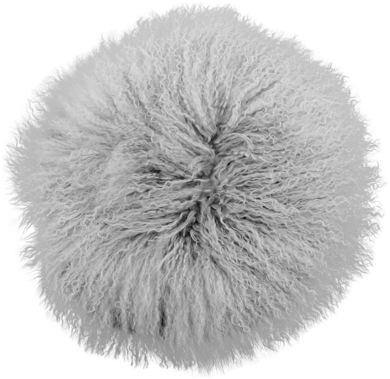Cuscino sedia in pelliccia d'agnello a pelo lungo Ella, riccio, Retro: 100% poliestere, Grigio chiaro, Ø 37 cm