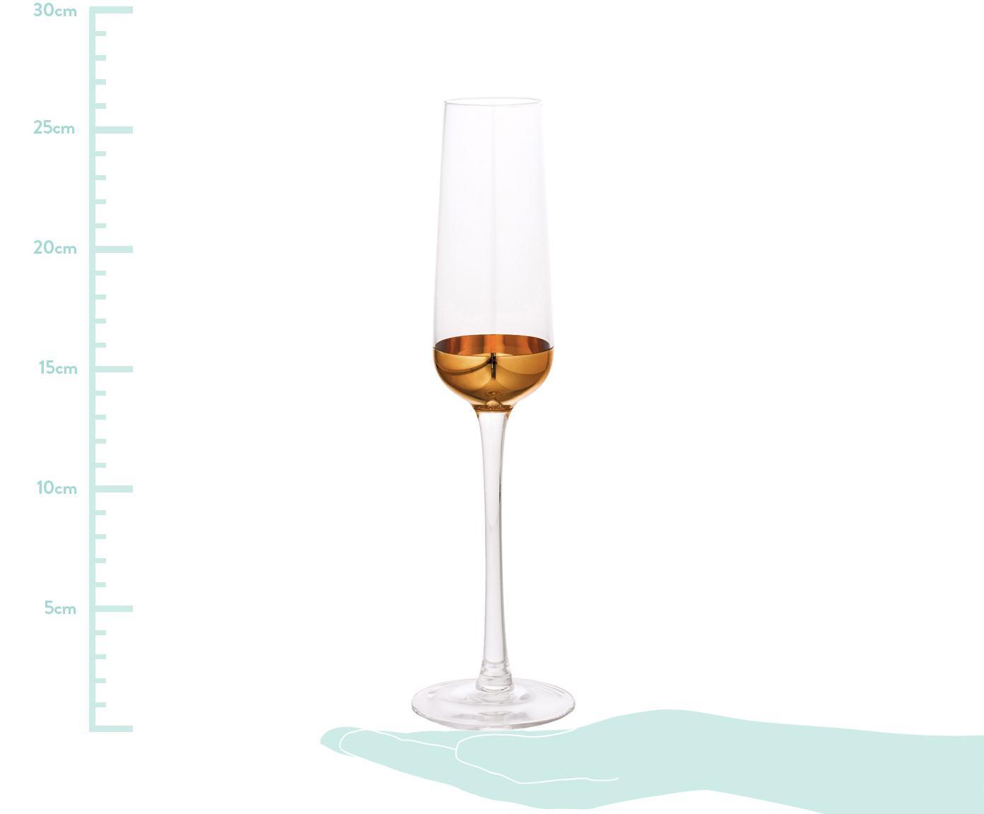 Kieliszek do szampana Copper, 4 szt., Szkło powlekane, Odcienie złotego, Ø 7 x W 26 cm