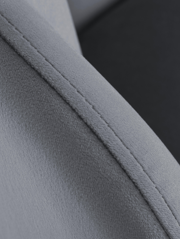 Poltrona in velluto Helle, Rivestimento: velluto (poliestere) 30.0, Piedini: metallo, verniciato a pol, Rivestimento: grigio Piedini: dorato lucido, Larg. 65 x Prof. 65 cm