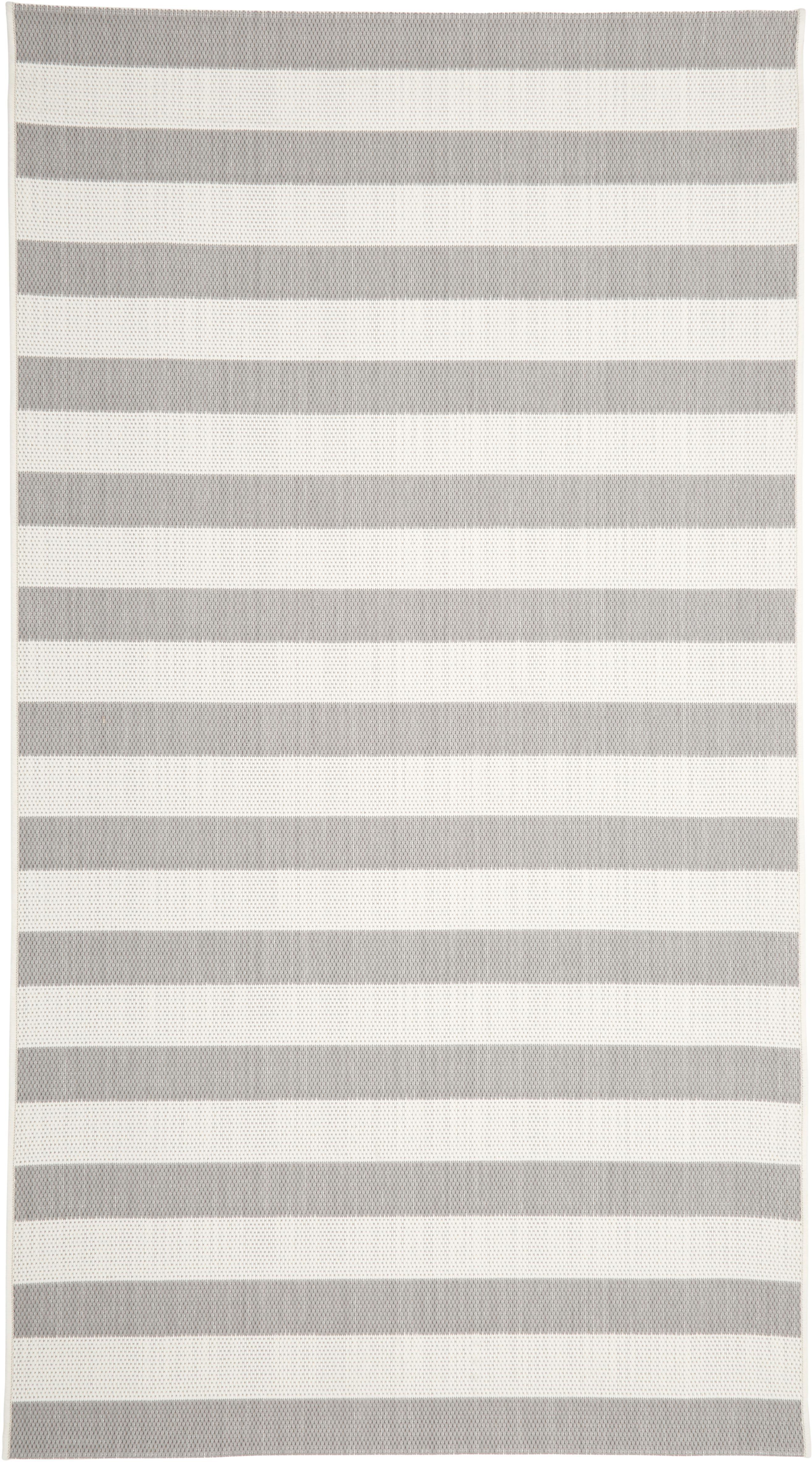 Gestreept in- & outdoor vloerkleed Axa in grijs/wit, Bovenzijde: polypropyleen, Onderzijde: polyester, Crèmewit, grijs, B 80 x L 150 cm (maat XS)