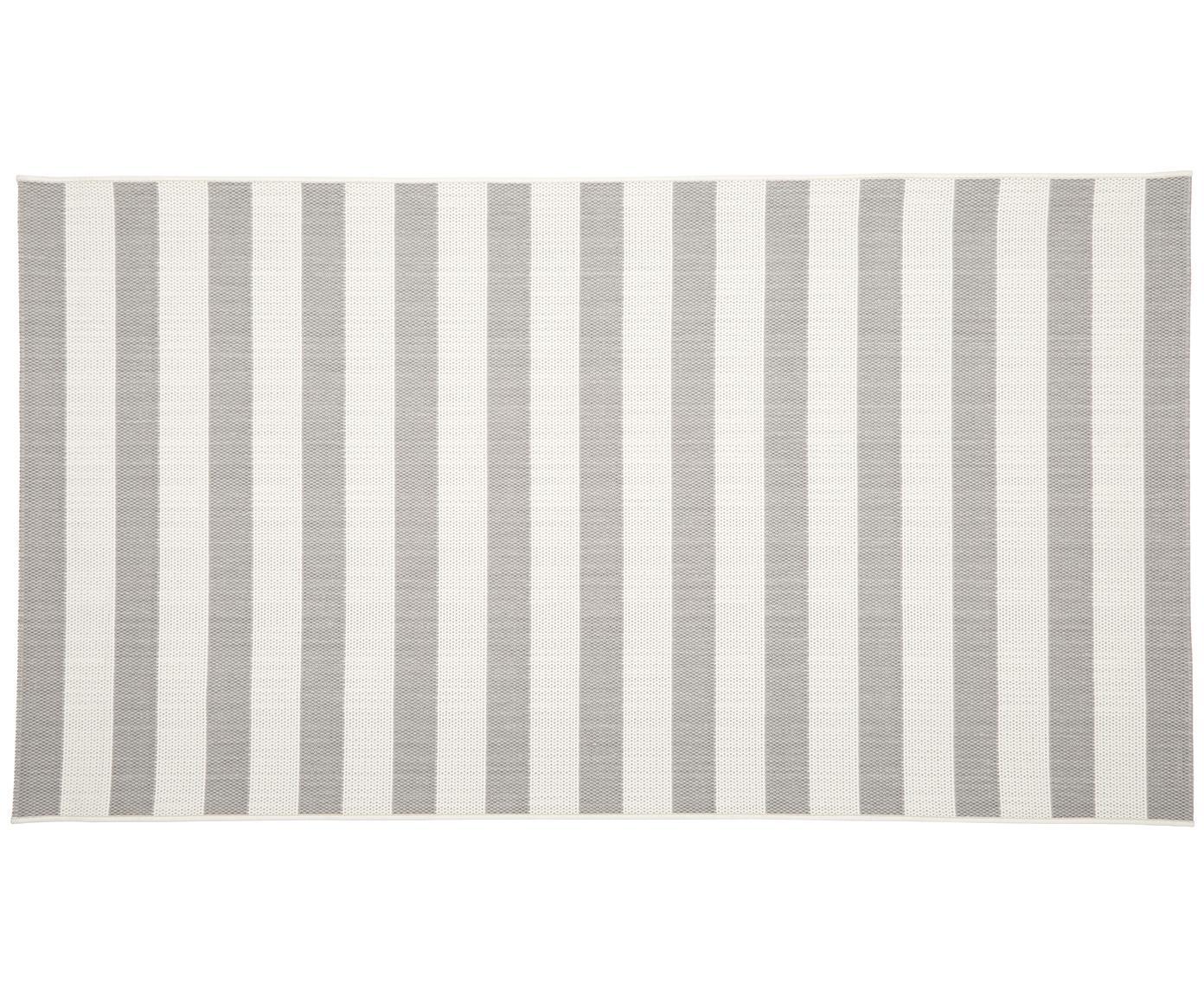 Gestreifter In- & Outdoor-Teppich Axa in Grau/Weiss, Flor: 100% Polypropylen, Cremeweiss, Grau, B 80 x L 150 cm (Grösse XS)