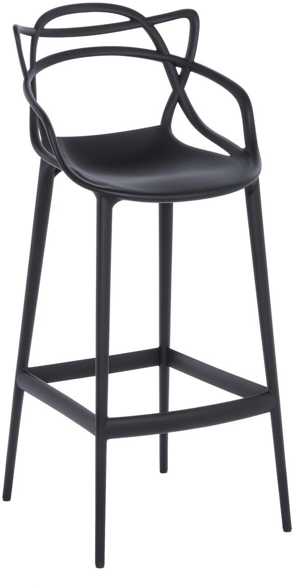 Krzesło barowe Masters, Polipropylen, Czarny, S 49 x W 109 cm