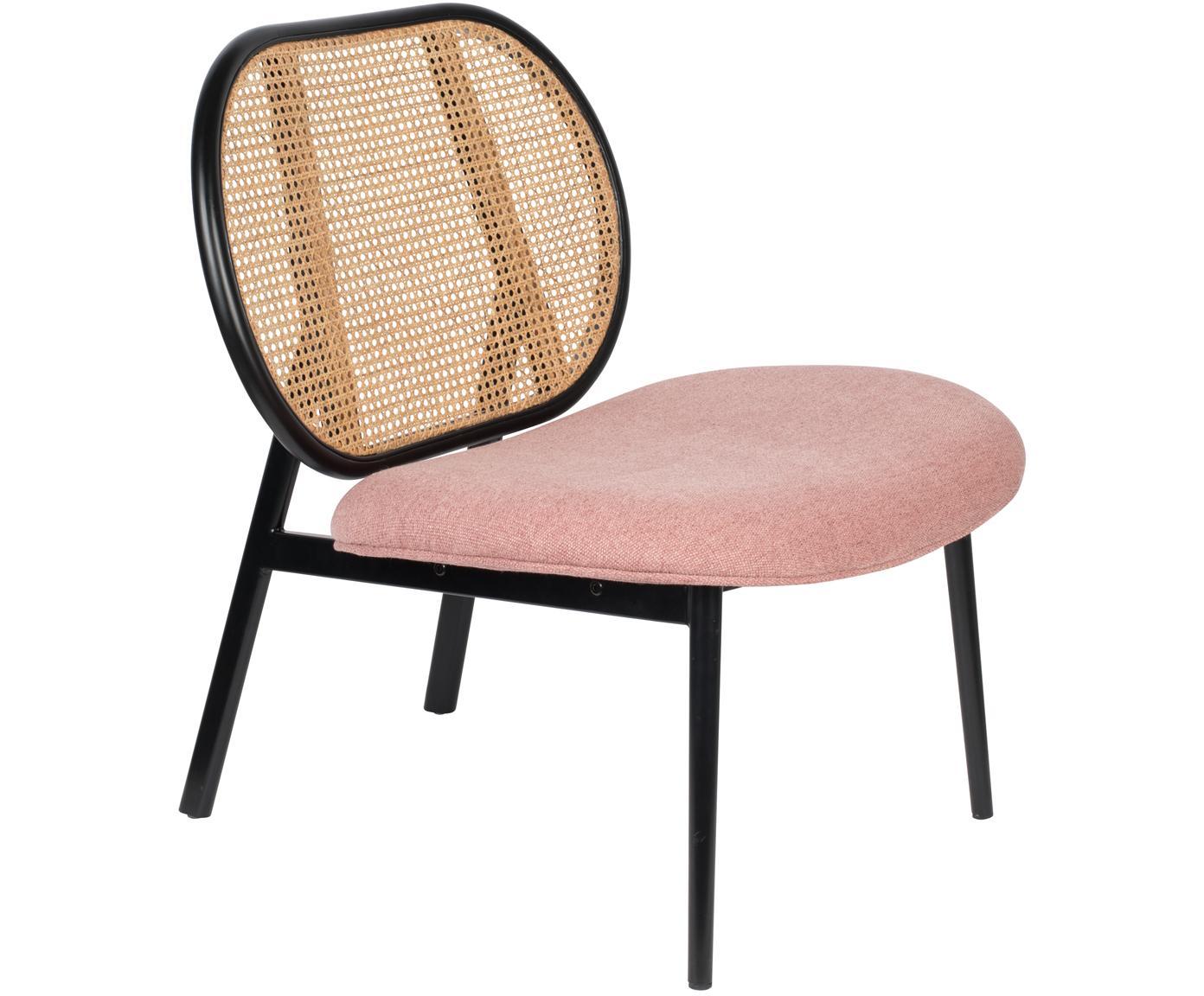 Loungefauteuil Spike, Bekleding: polyester, Frame: rotan, beukenhout, Poten: gepoedercoat metaal, Beige, roze, B 79 x D 70 cm