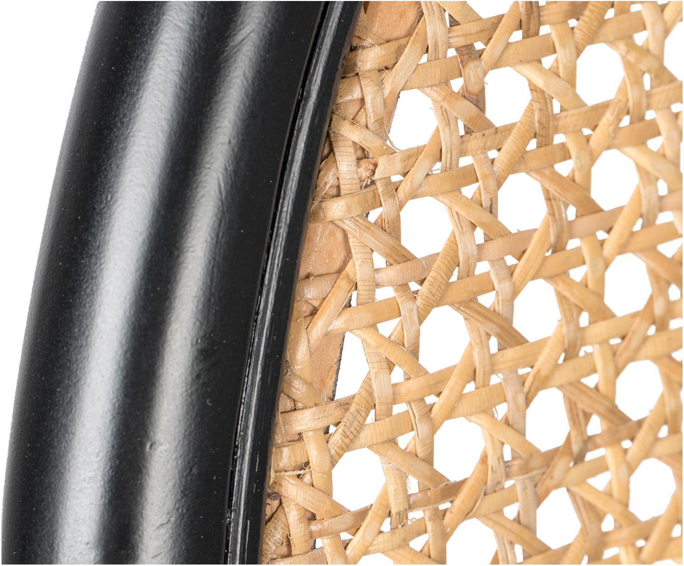 Loungesessel Spike mit Wiener Geflecht, Bezug: Polyester 100.000 Scheuer, Rückenlehne: Rattan, Buchenholz, Beine: Metall, pulverbeschichtet, Beige, Rosa, B 79 x T 70 cm