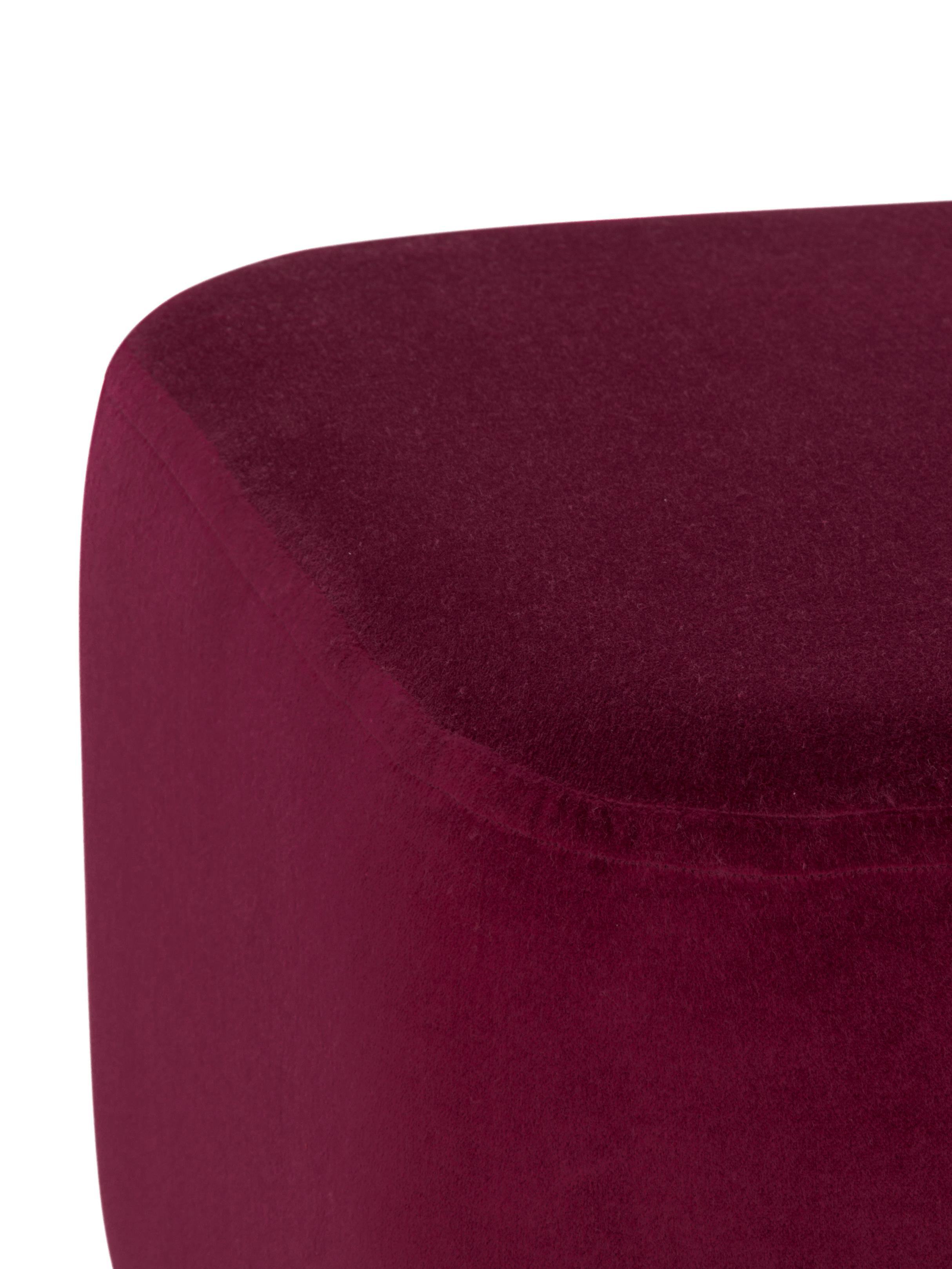 Samt-Hocker Harper, Bezug: Baumwollsamt, Fuß: Metall, pulverbeschichtet, Dunkelrot, Goldfarben, 46 x 44 cm