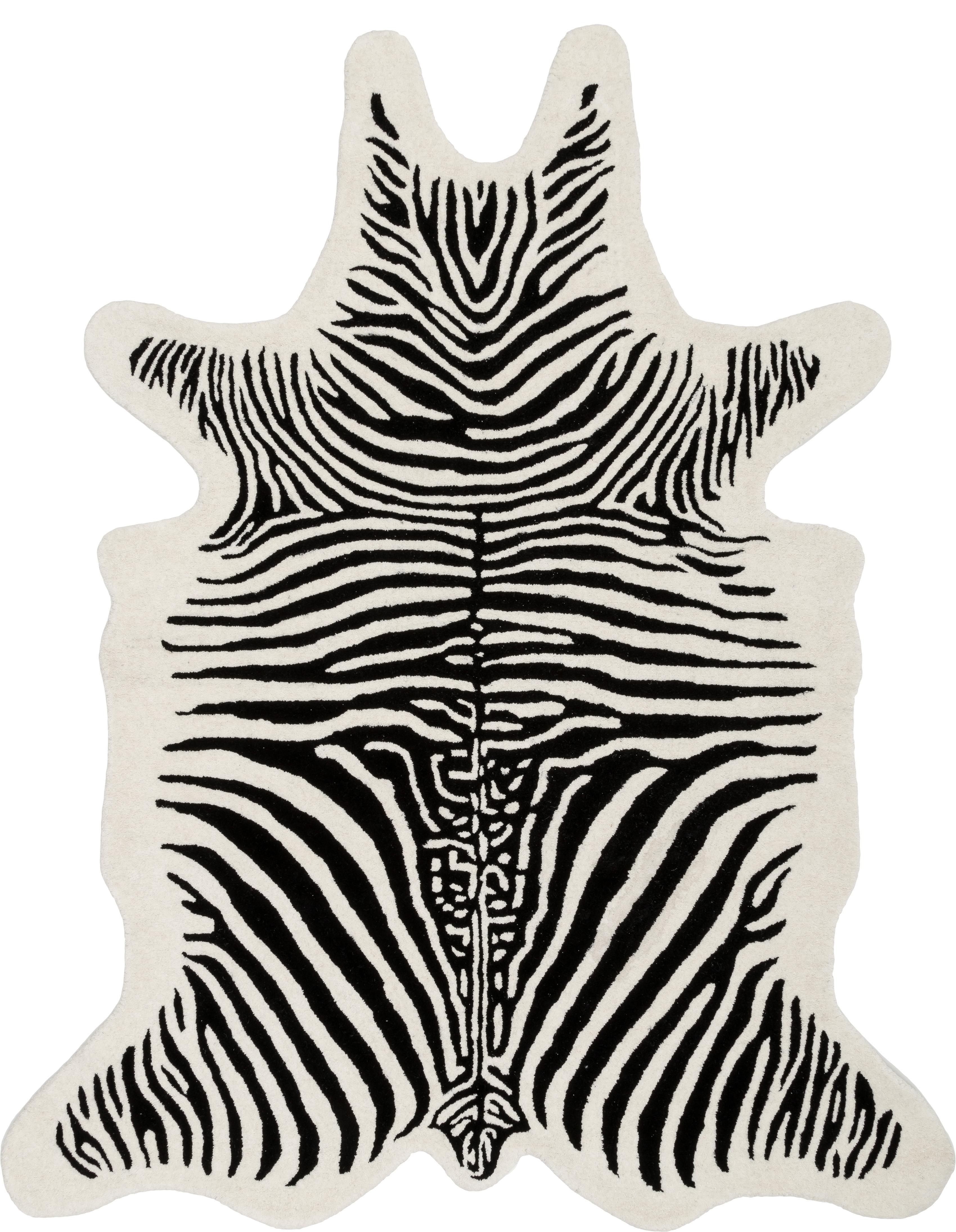 Handgetufteter Wollteppich Savanna Zebra, Flor: 100% Wolle, Schwarz, Creme, B 160 x L 200 cm (Größe M)