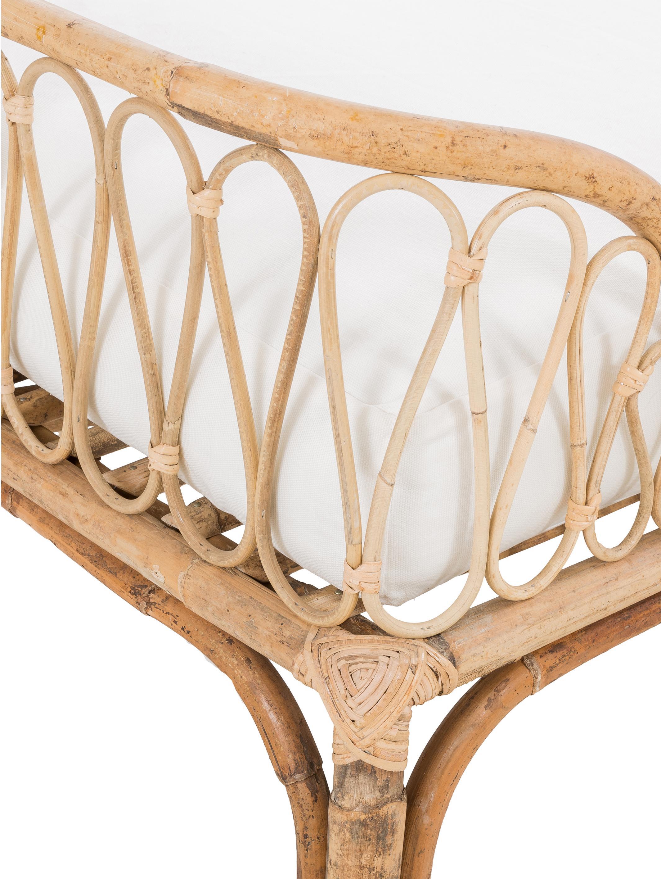 Bamboehouten daybed Blond met ligkussen, Frame: bamboehout, Bekleding: katoen, Bamboehoutkleurig, wit, B 185 x D 78 cm