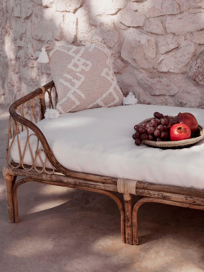 Lit de repos en bambou avec assise rembourrée Blond, Bambou, blanc