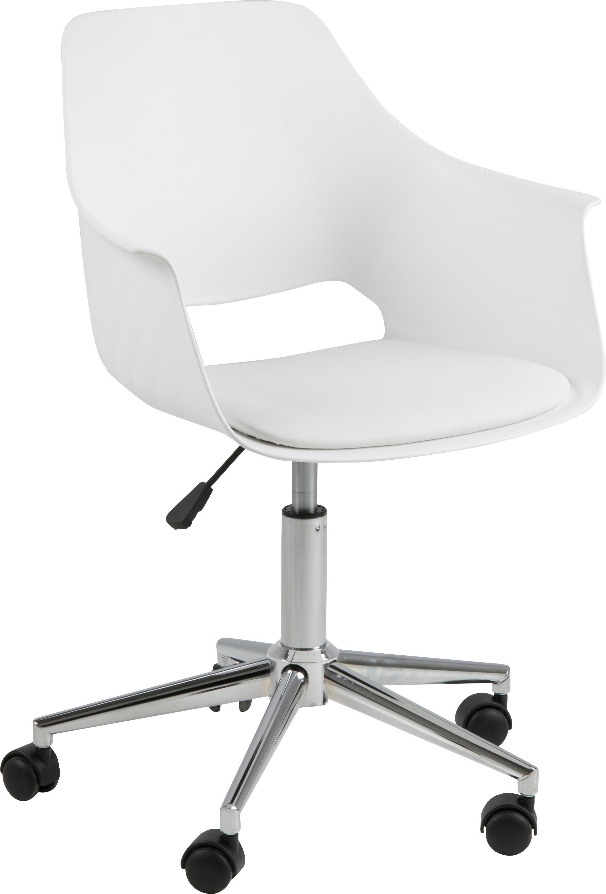 Bureaustoel Ramona, in hoogte verstelbaar, Bekleding: kunstleer (polyurethaan), Poten: verchroomd metaal, Wit, B 57 x D 53 cm