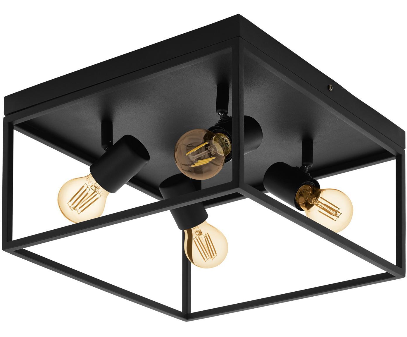 Plafondlamp Silentina, Gepoedercoat staal, Zwart, 36 x 21 cm