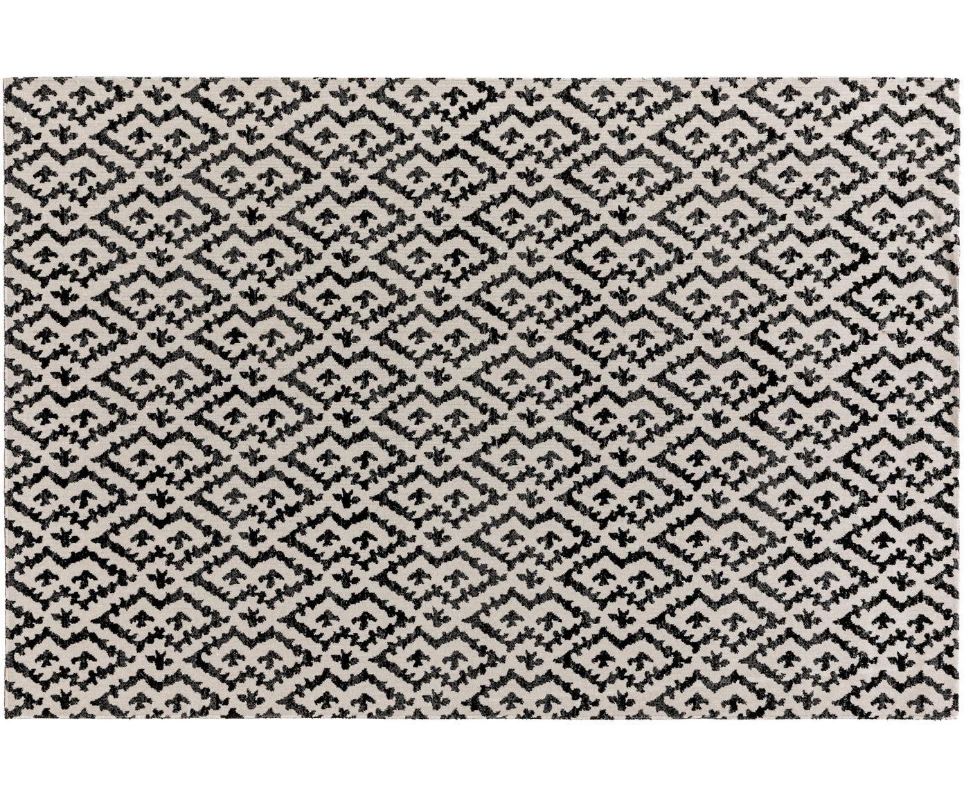 In- & outdoor vloerkleed Jerry in ethno stijl, Polypropyleen, Zwart, wit, B 160 x L 230 cm (maat M)