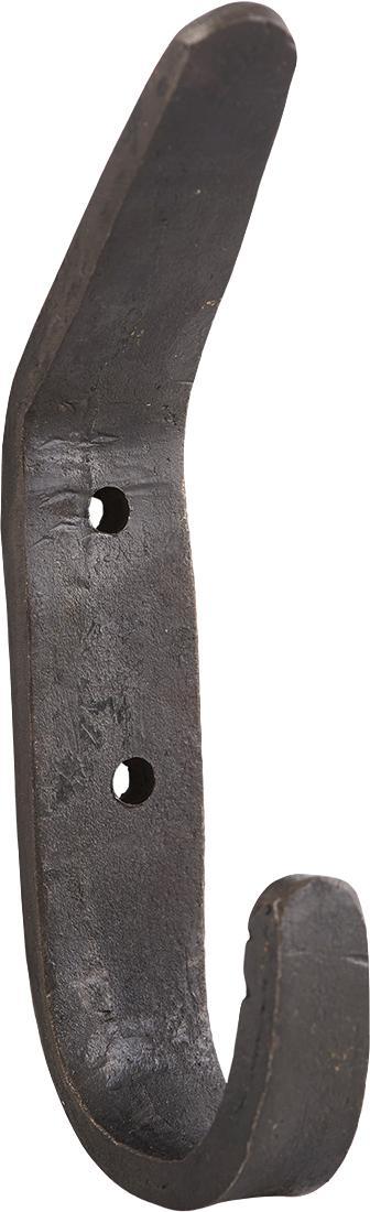Gancio appendiabiti in metallo Forga 2 pz, Metallo rivestito, Nero, Larg. 2 x Alt. 12 cm