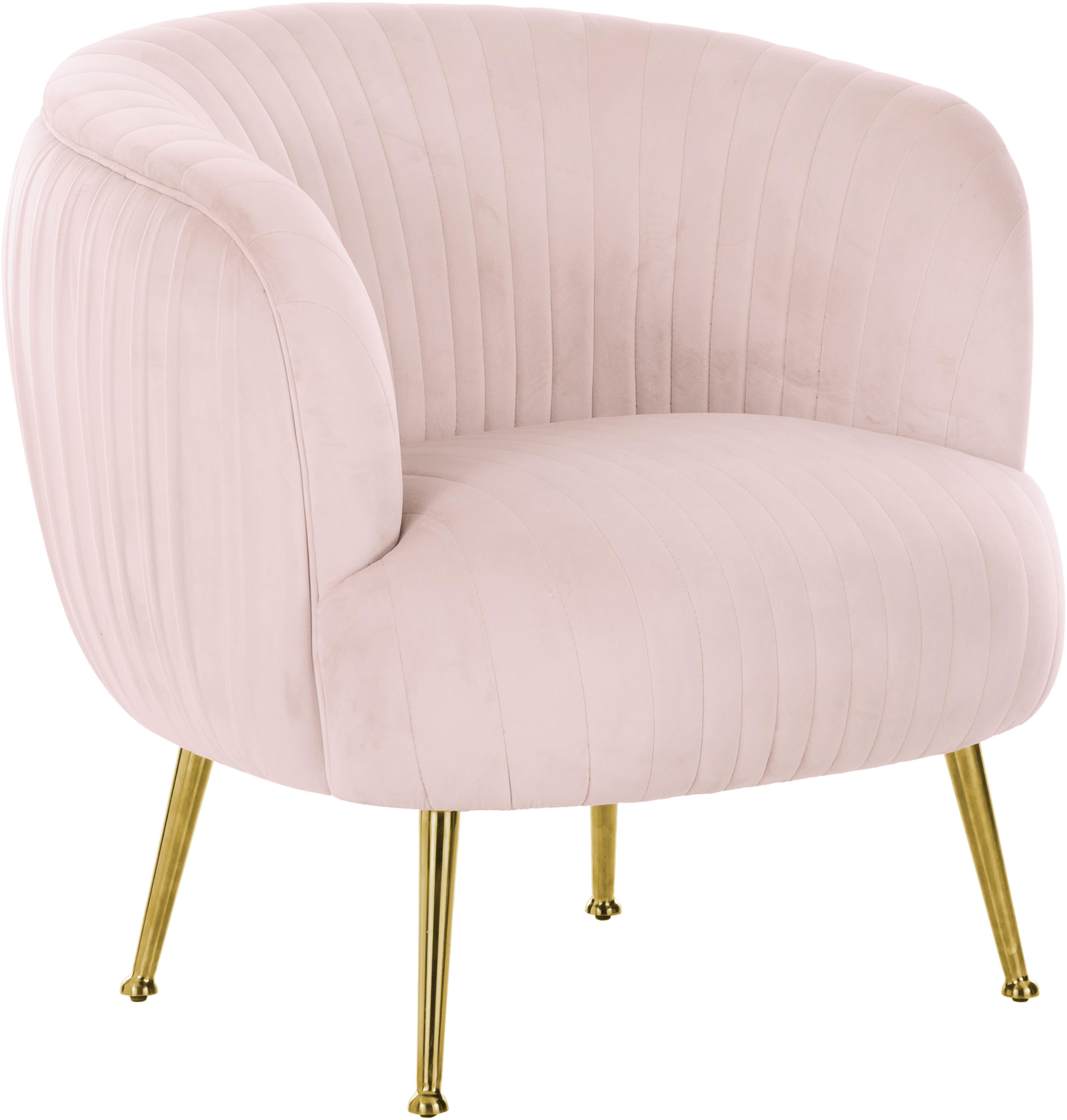 Fluwelen fauteuil Cara, Bekleding: fluweel (polyester), Frame: massief berkenhout, spaan, Poten: gecoat metaal, Roze, B 76 x D 75 cm