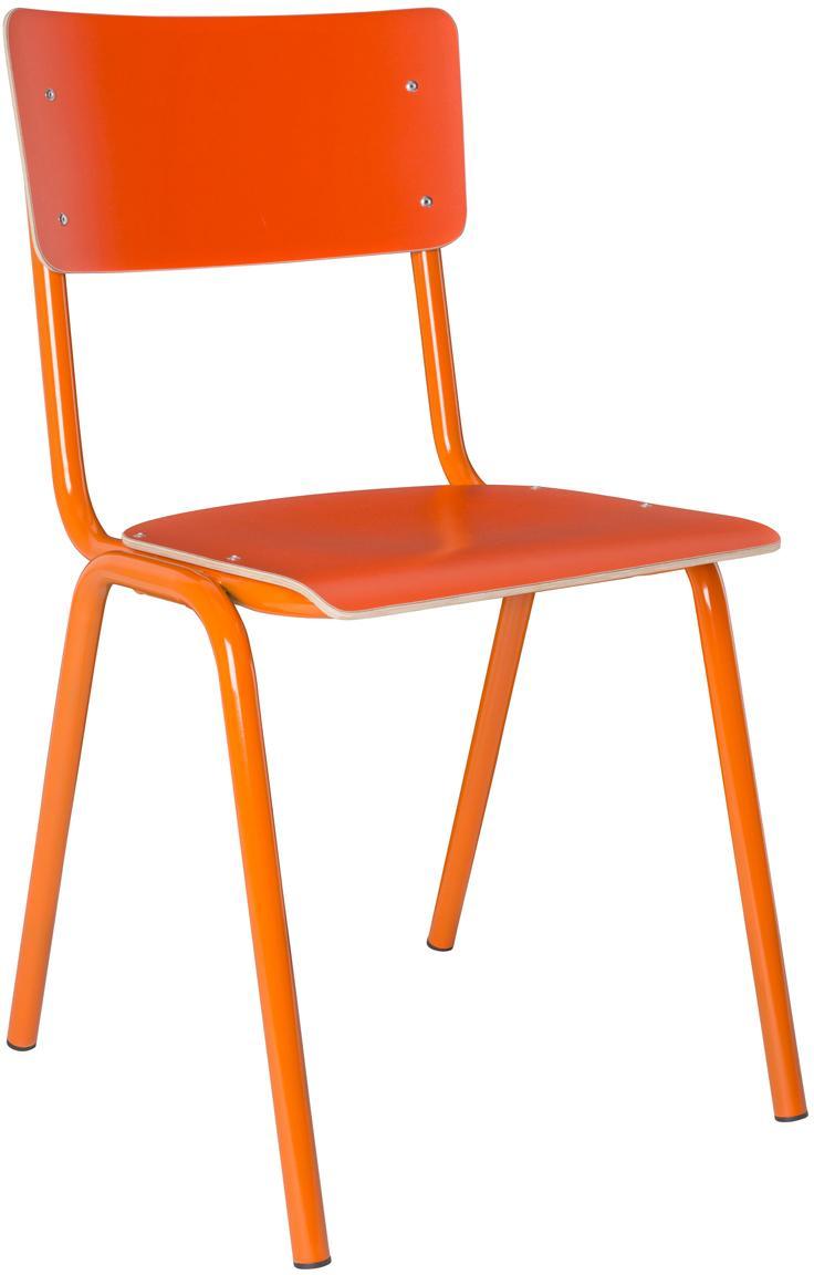 Sedia da pranzo Back to School, Gambe: metallo verniciato a polv, Arancione, Larg. 43 x Prof. 49 cm
