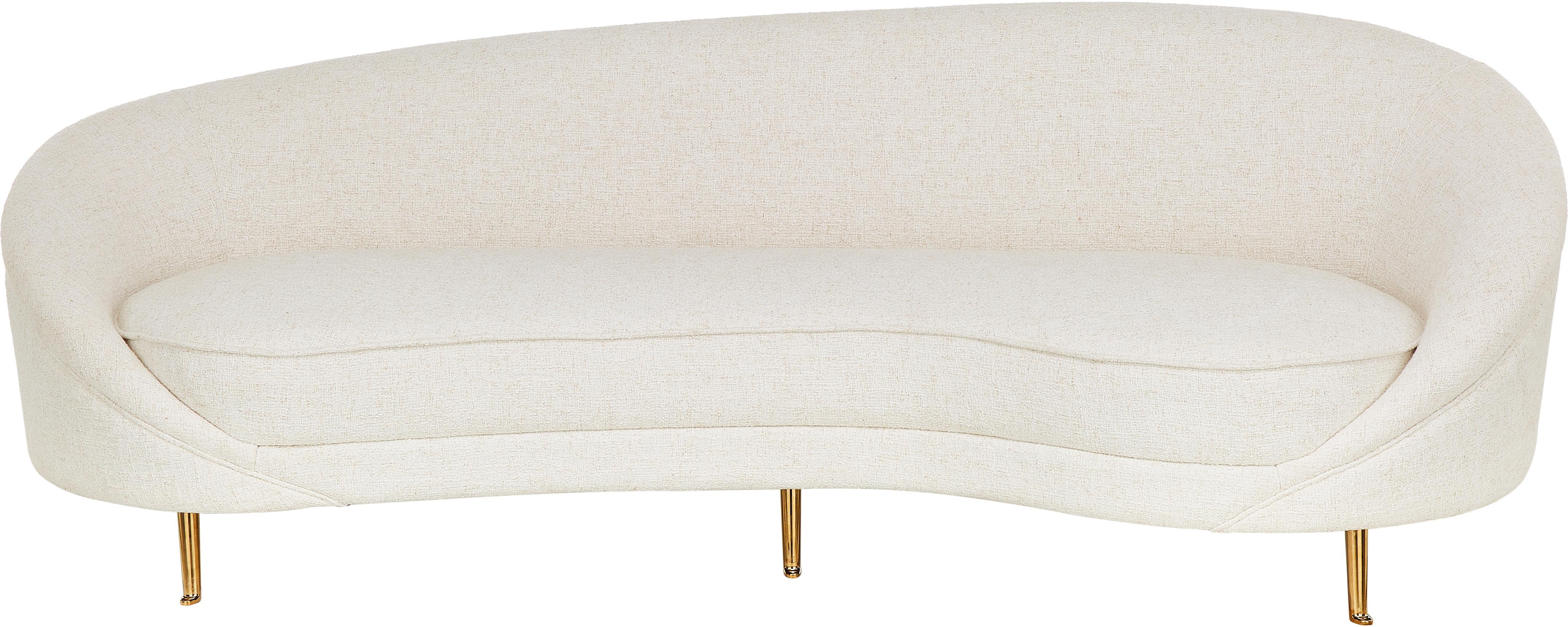Sofá de tejido bouclé Gatsby (3plazas), Tapizado: tejido bouclé (70%poliés, Estructura: madera de eucalipto maciz, Patas: metal galvanizado, Bouclé beige, An 245 x F 102 cm