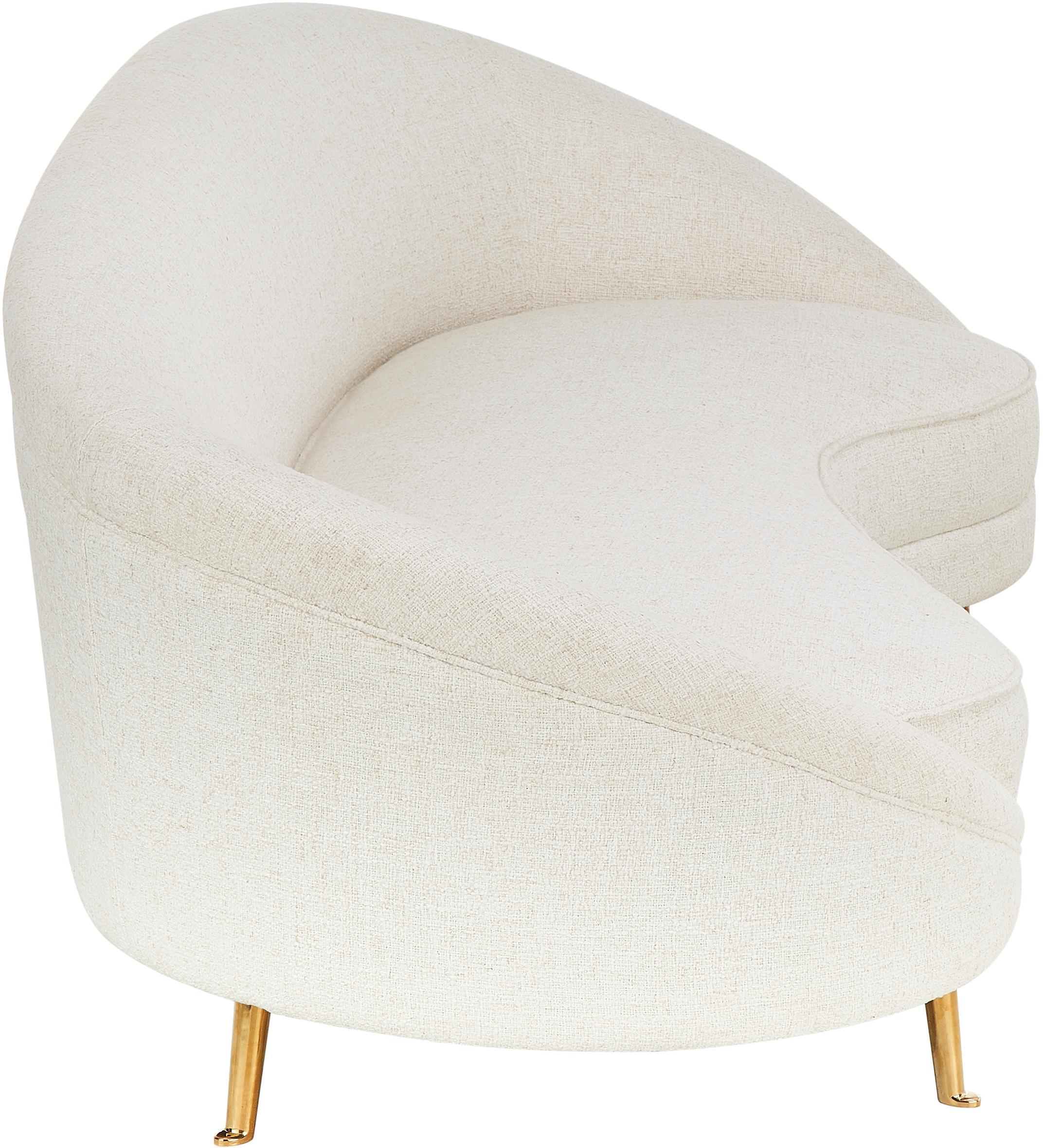 Sofá de tejido bouclé Gatsby (3plazas), Tapizado: tejido bouclé (70%poliés, Estructura: madera de eucalipto maciz, Patas: metal galvanizado, Tapizado: beige Patas: dorado brillante, An 245 x F 102 cm