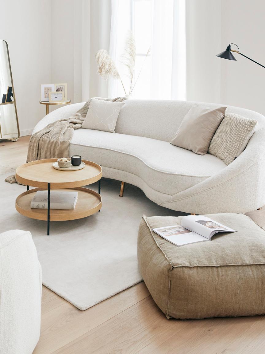 Canapé en tissu bouclé Gatsby (3places), Revêtement: beige pieds: couleur dorée, brillant
