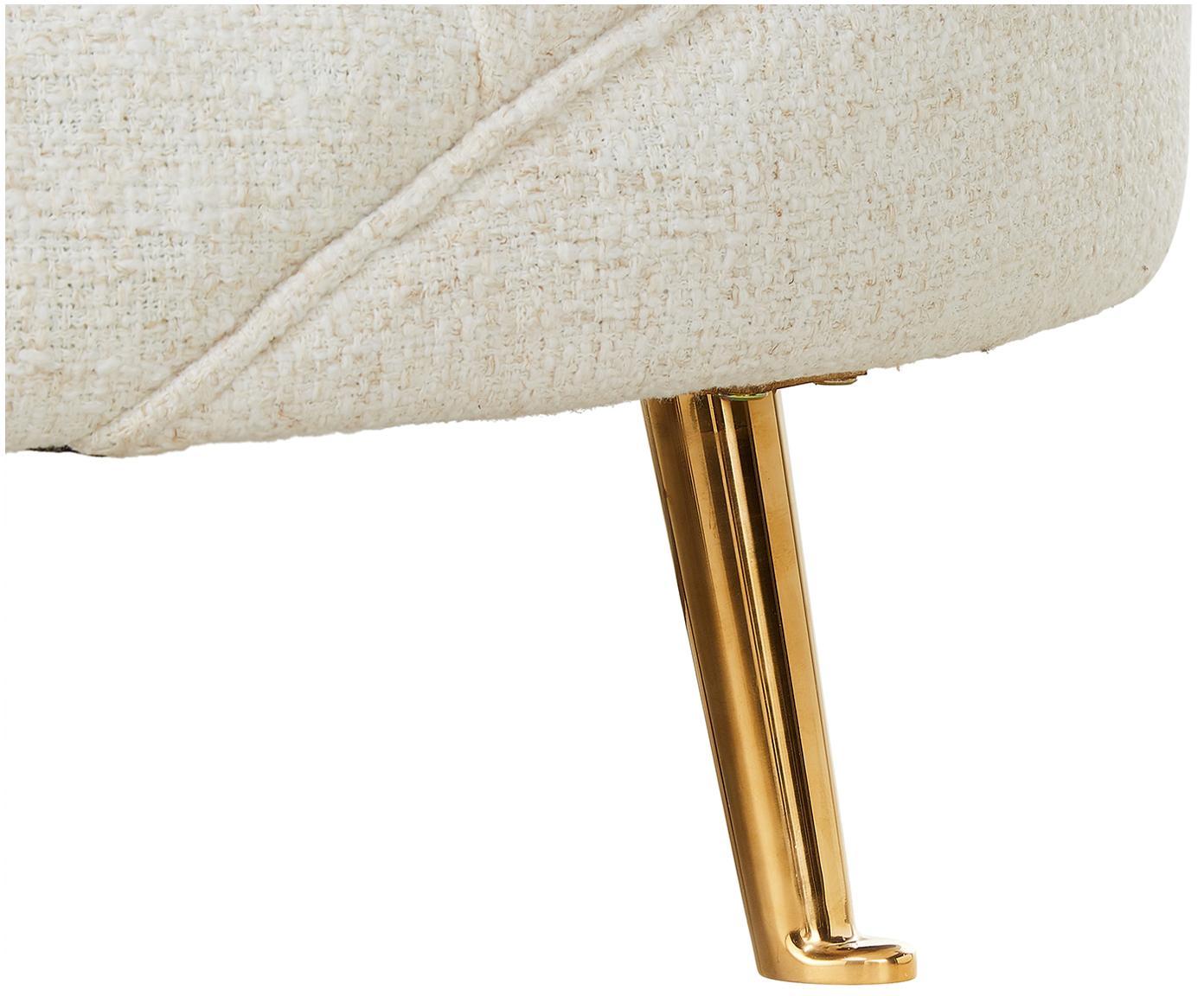 Sofa bouclé w kształcie nerki  Gatsby (3-osobowa), Tapicerka: bouclé (70% poliester, 20, Stelaż: lite drewno eukaliptusowe, Nogi: metal galwanizowany, Tapicerka: beżowy Nogi: odcienie złotego, błyszczący, S 245 x G 102 cm