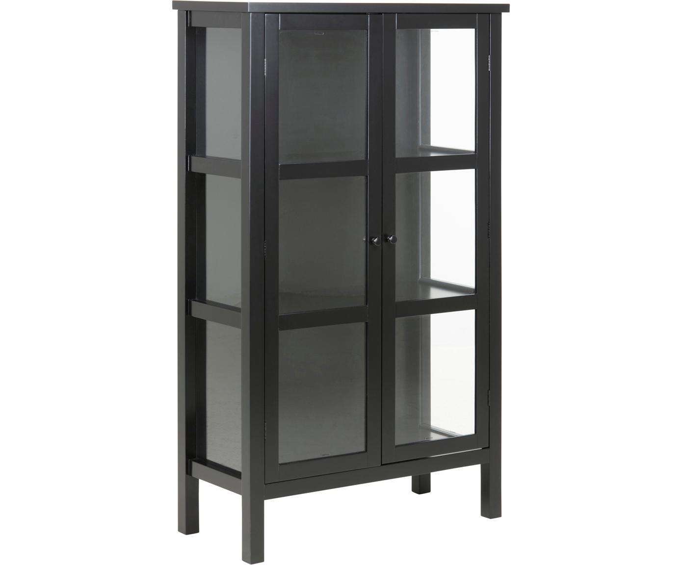 Glasvitrine Eton mit Holzrahmen, Rahmen: Mitteldichte Holzfaserpla, Front: Glas, Schwarz, 80 x 137 cm
