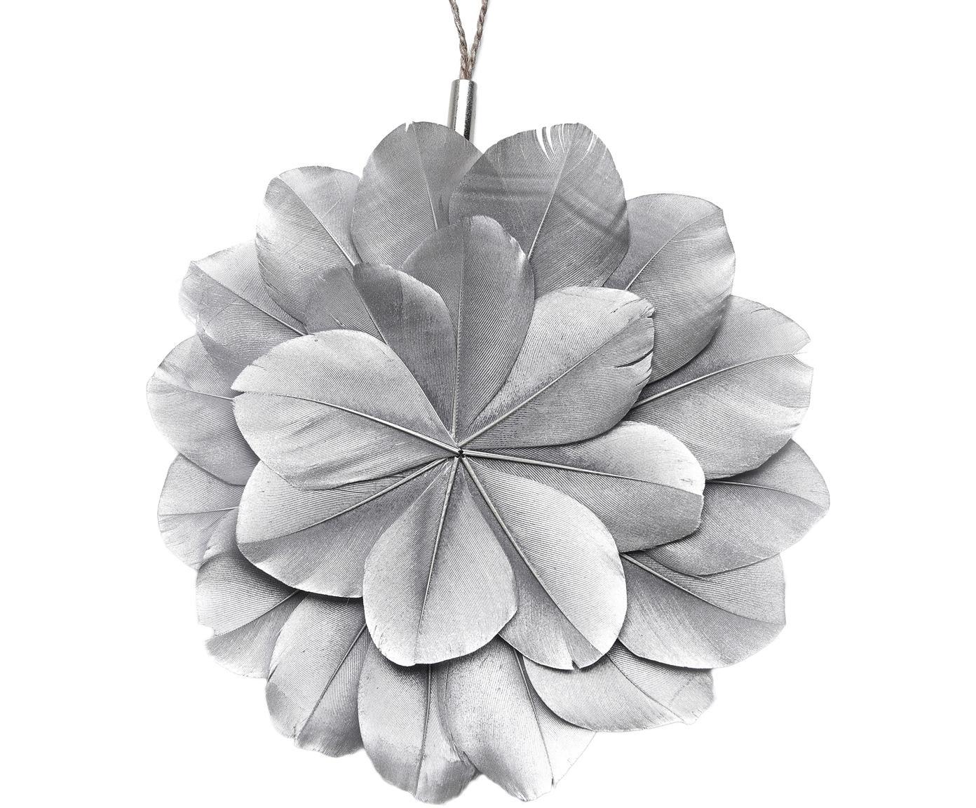 Kerstboomhangers Juju, 2 stuks, Zilverkleurig, bruin, Ø 12 x D 1 cm
