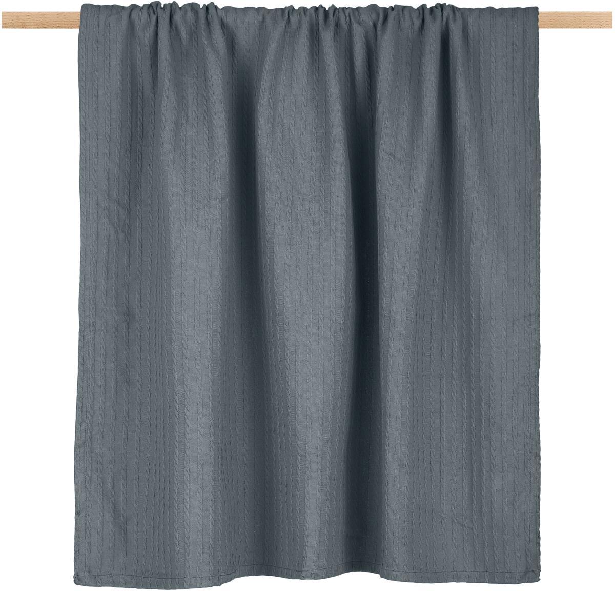 Plaid Pietro, 100% Baumwolle, Grau, 125 x 150 cm