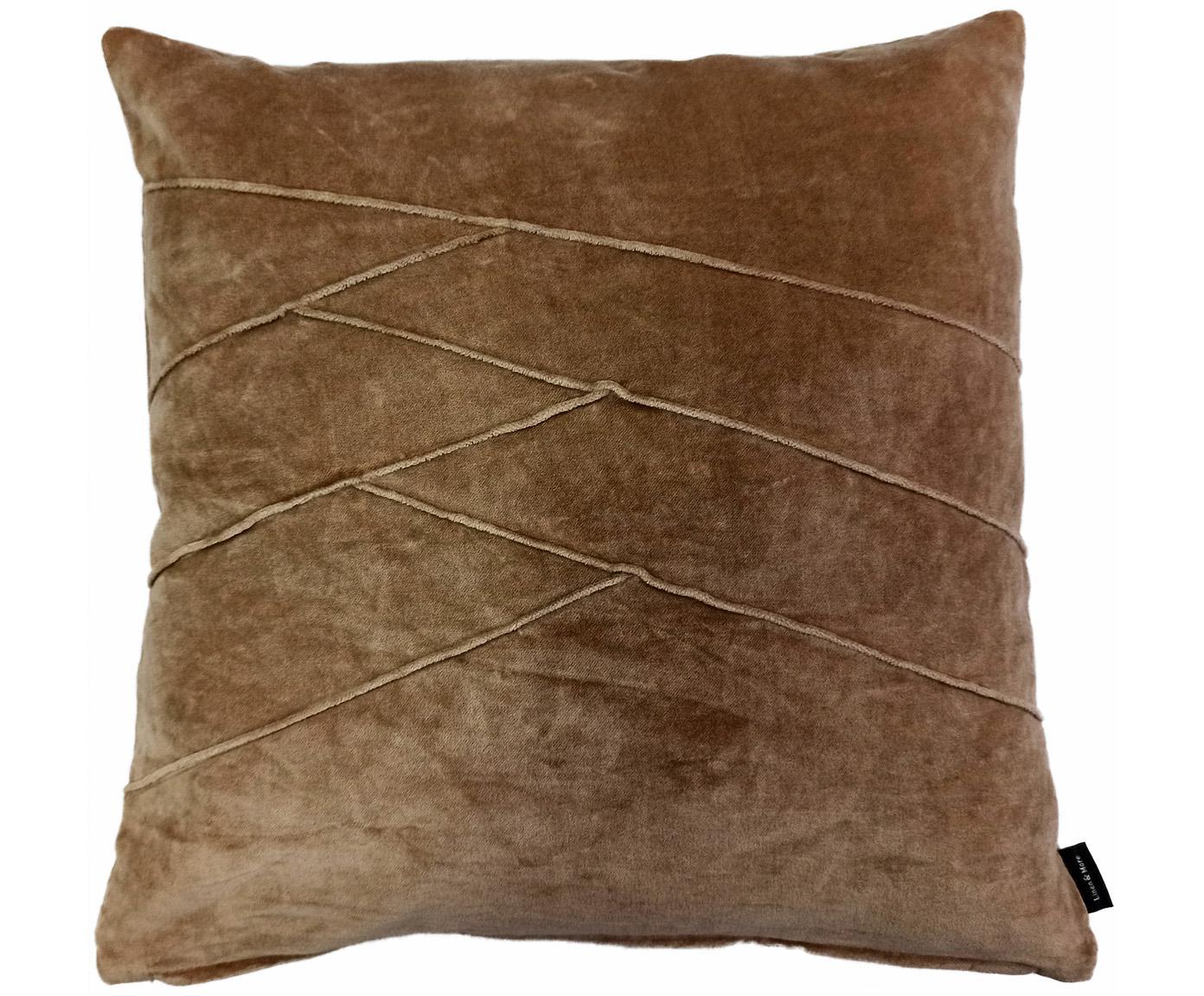 Fluwelen kussen Pintuck in bruin met verhoogd structuurpatroon, met vulling, Weeftechniek: fluweel, Roze, 45 x 45 cm