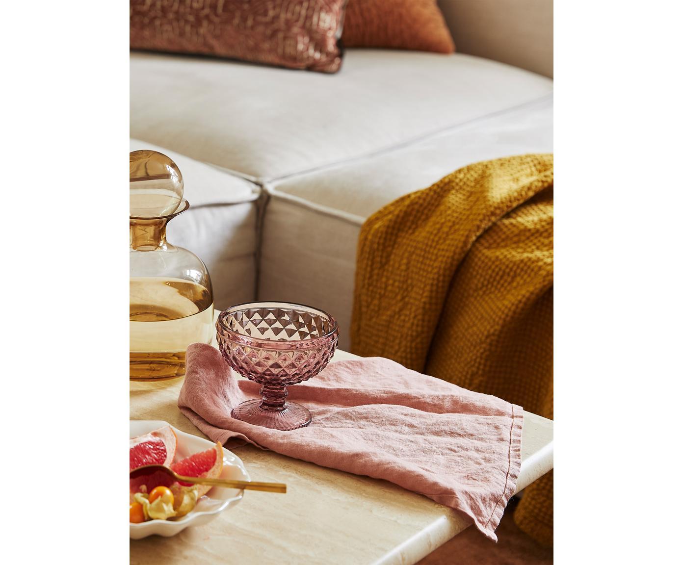 Stoff-Servietten Kinia aus Halbleinen, 4 Stück, 55% Baumwolle, 45% Leinen, Altrosa, 45 x 45 cm