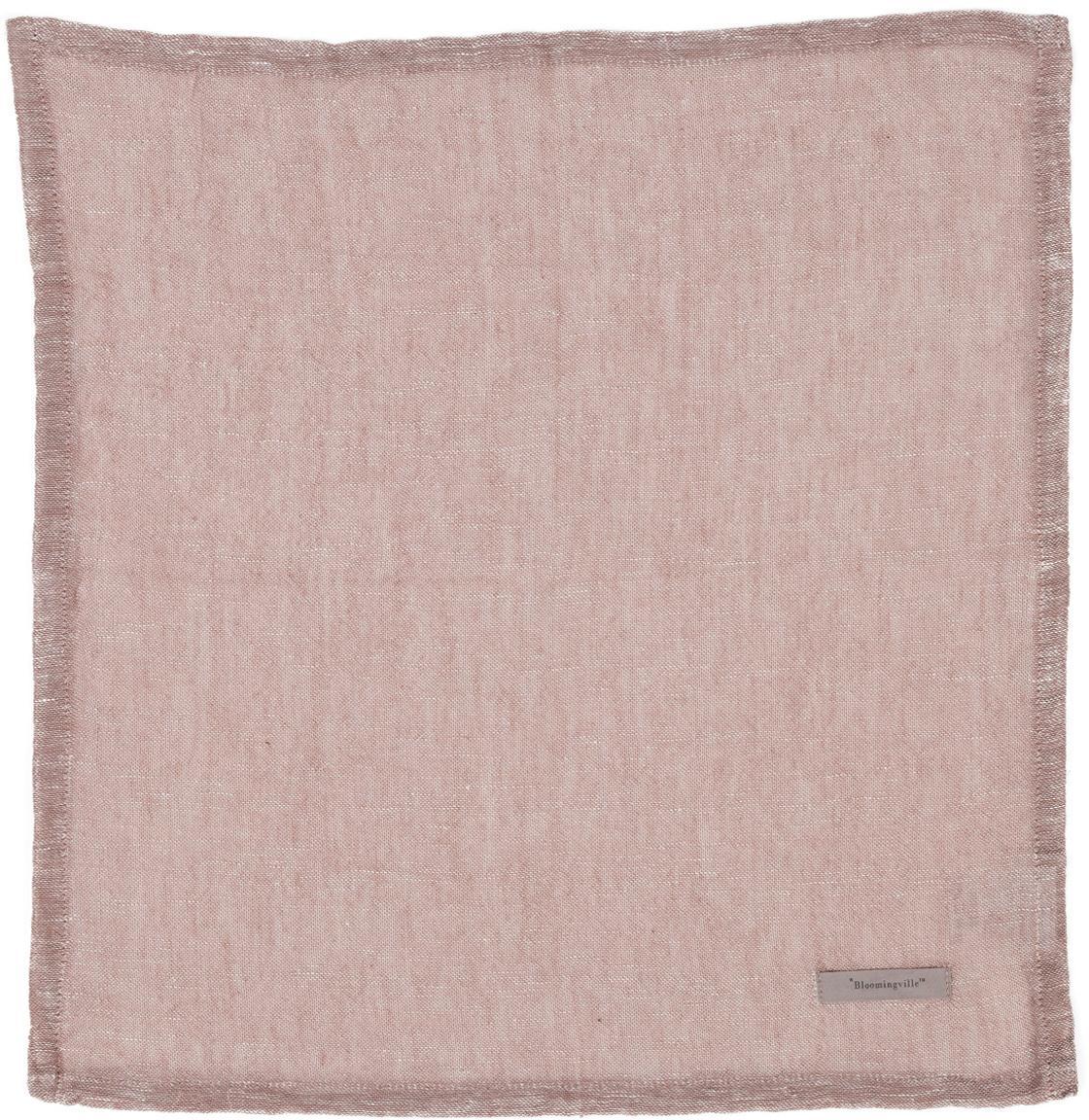 Serwetka z tkaniny Kinia, 4 szt., 55% bawełna, 45% len, Brudny różowy, S 45 x D 45 cm