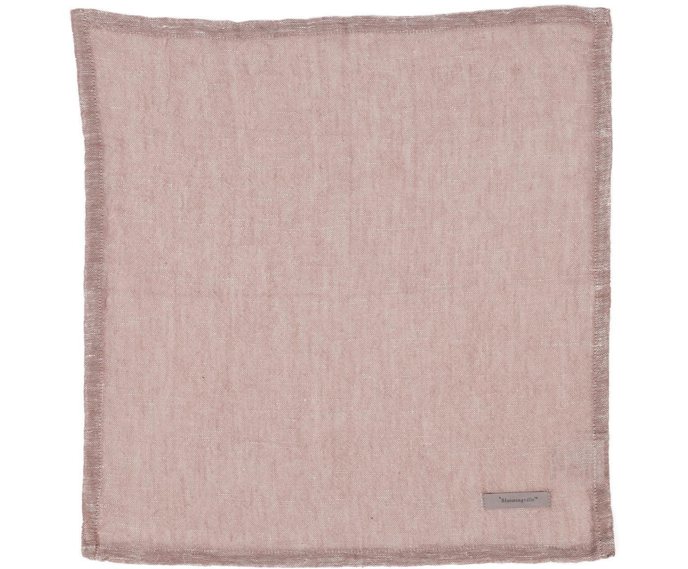 Tovagliolo in mezzo lino Kinia 4 pz, 55% cotone, 45% lino, Rosa cipria, Larg. 45 x Lung. 45 cm